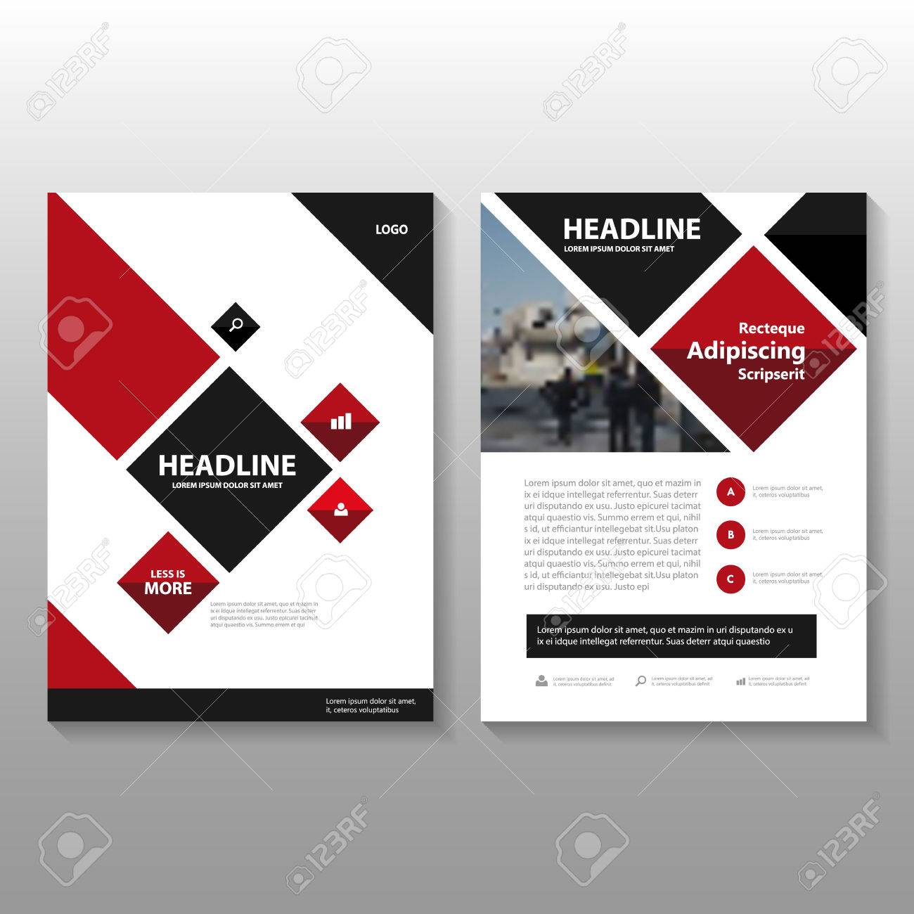 Red black Square Vector annual report Leaflet Brochure Flyer template design, book cover layout design, Abstract red black presentation templates - 54785797