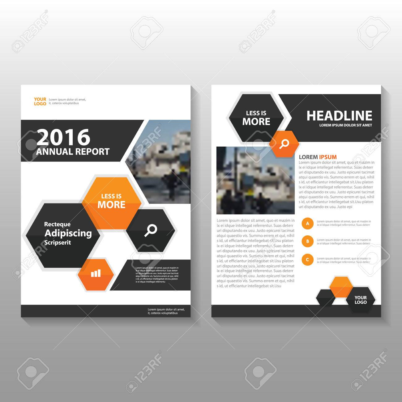 Orange Black Hexagon Vector Annual Report Leaflet Brochure Flyer ...