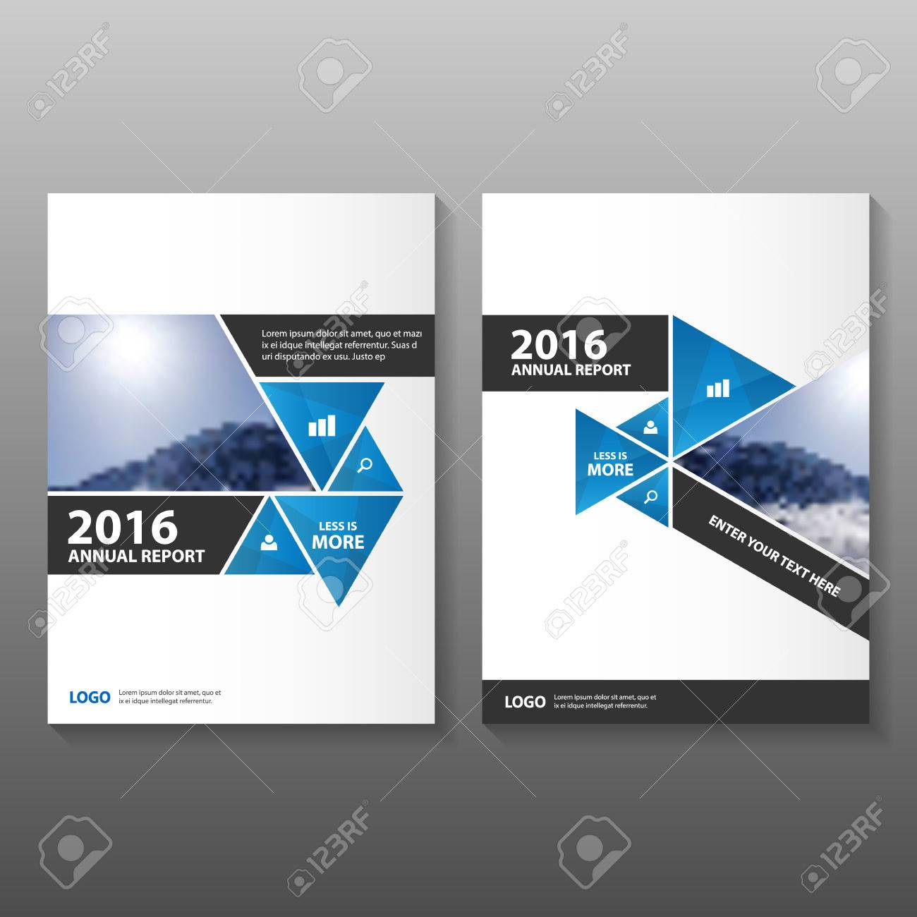 triangle blue black annual report leaflet brochure template design book cover layout design abstract
