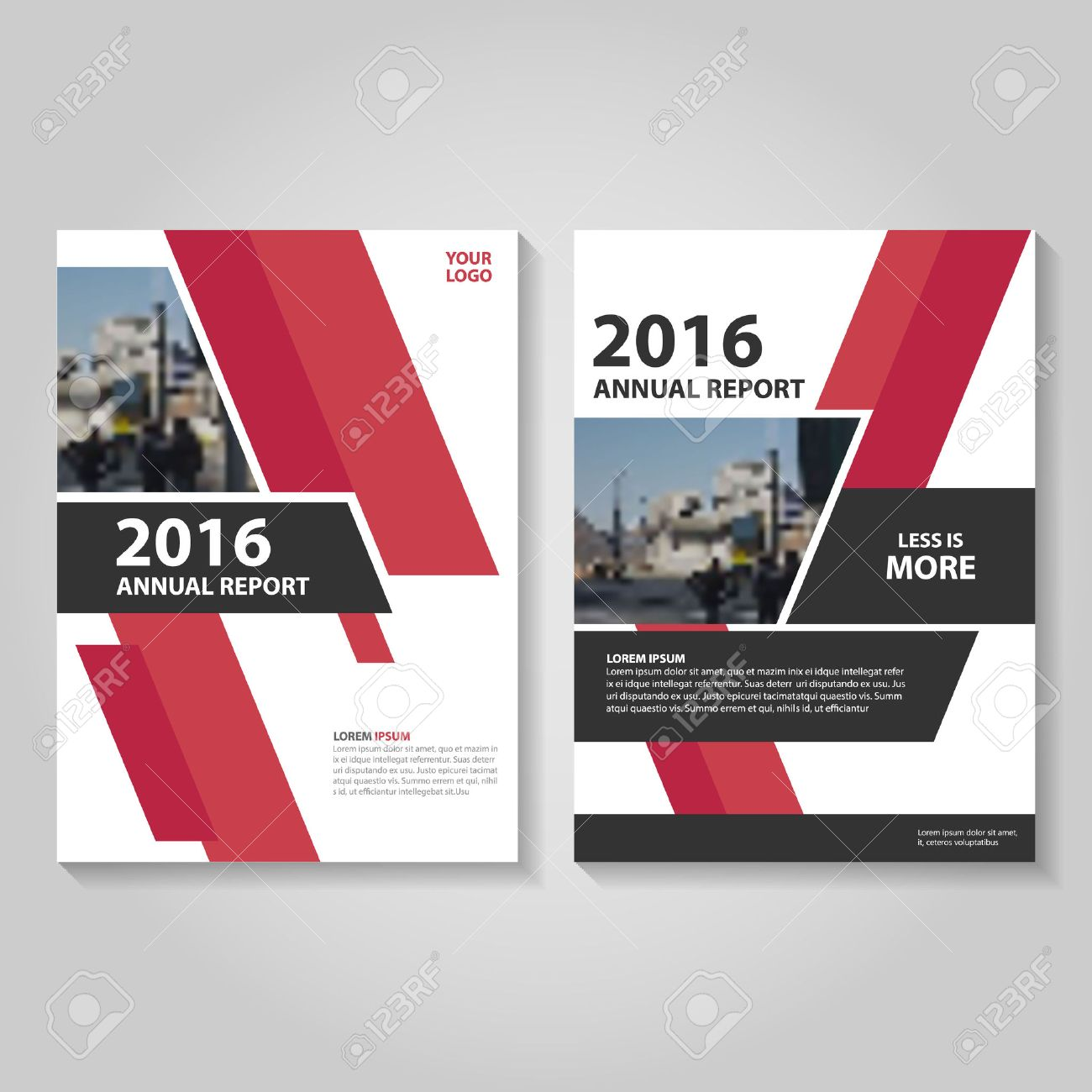 red black annual report leaflet brochure template design book