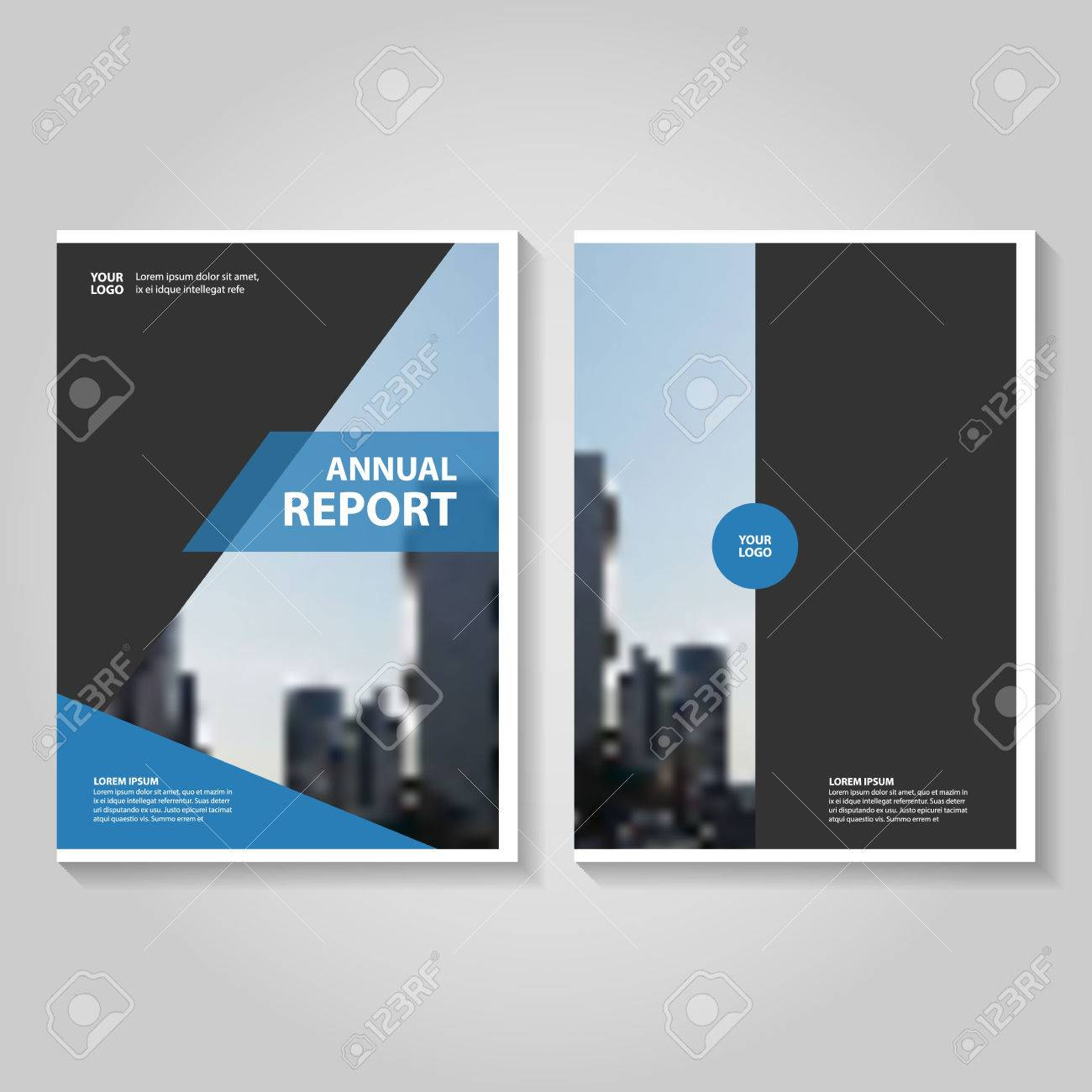 blue black annual report leaflet brochure template design book cover layout design abstract blue