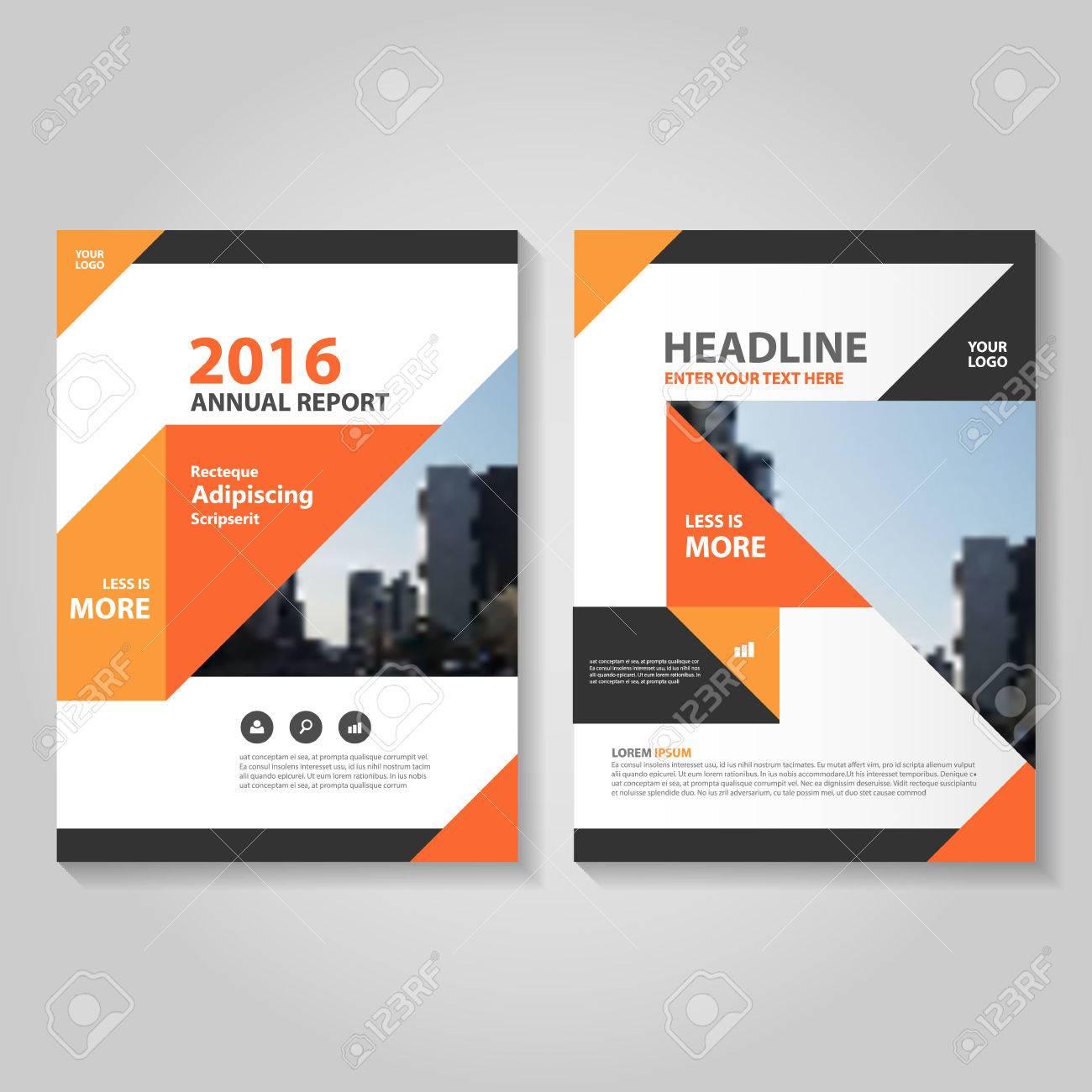Elegance Triangle Orange Black Annual Report Leaflet Brochure ...
