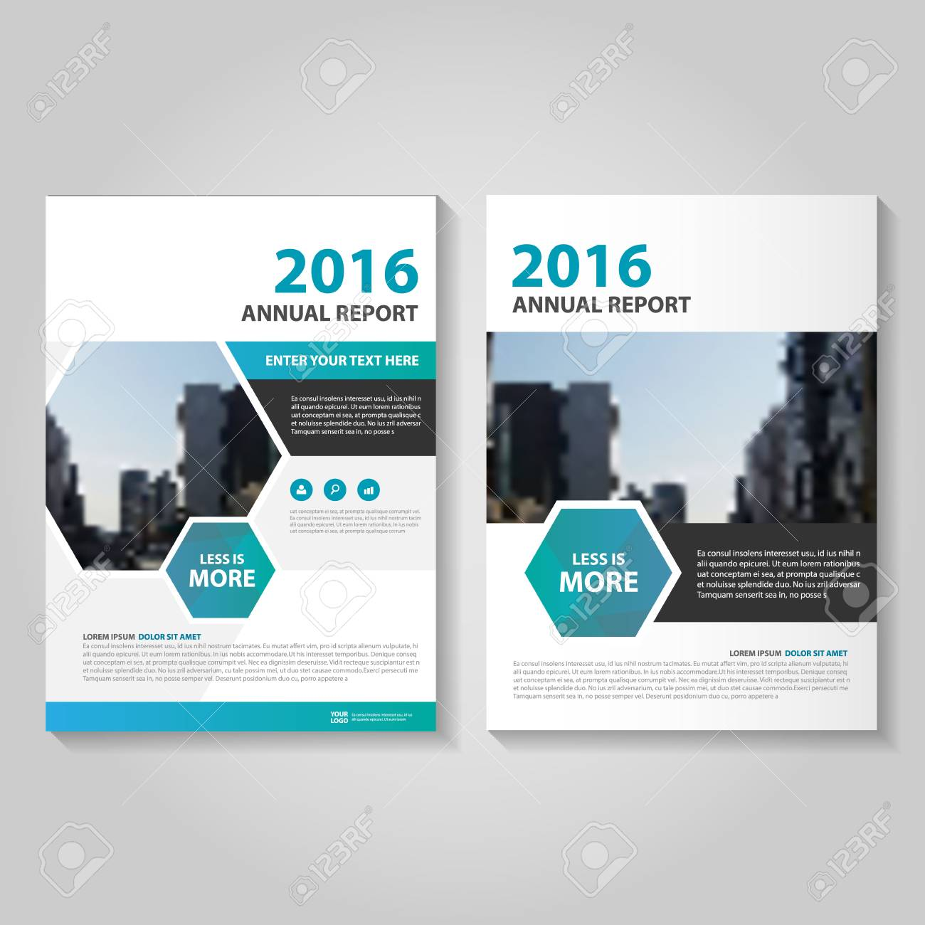 hexagon blue annual report leaflet brochure template design