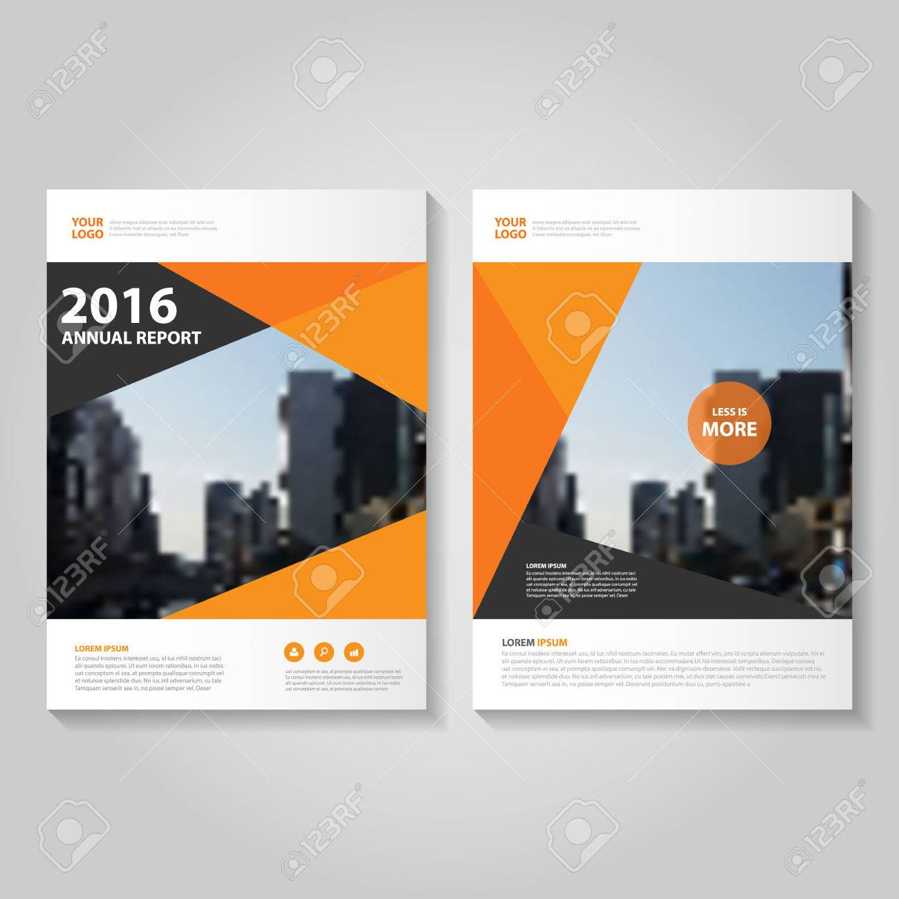 orange black polygon annual report leaflet brochure template
