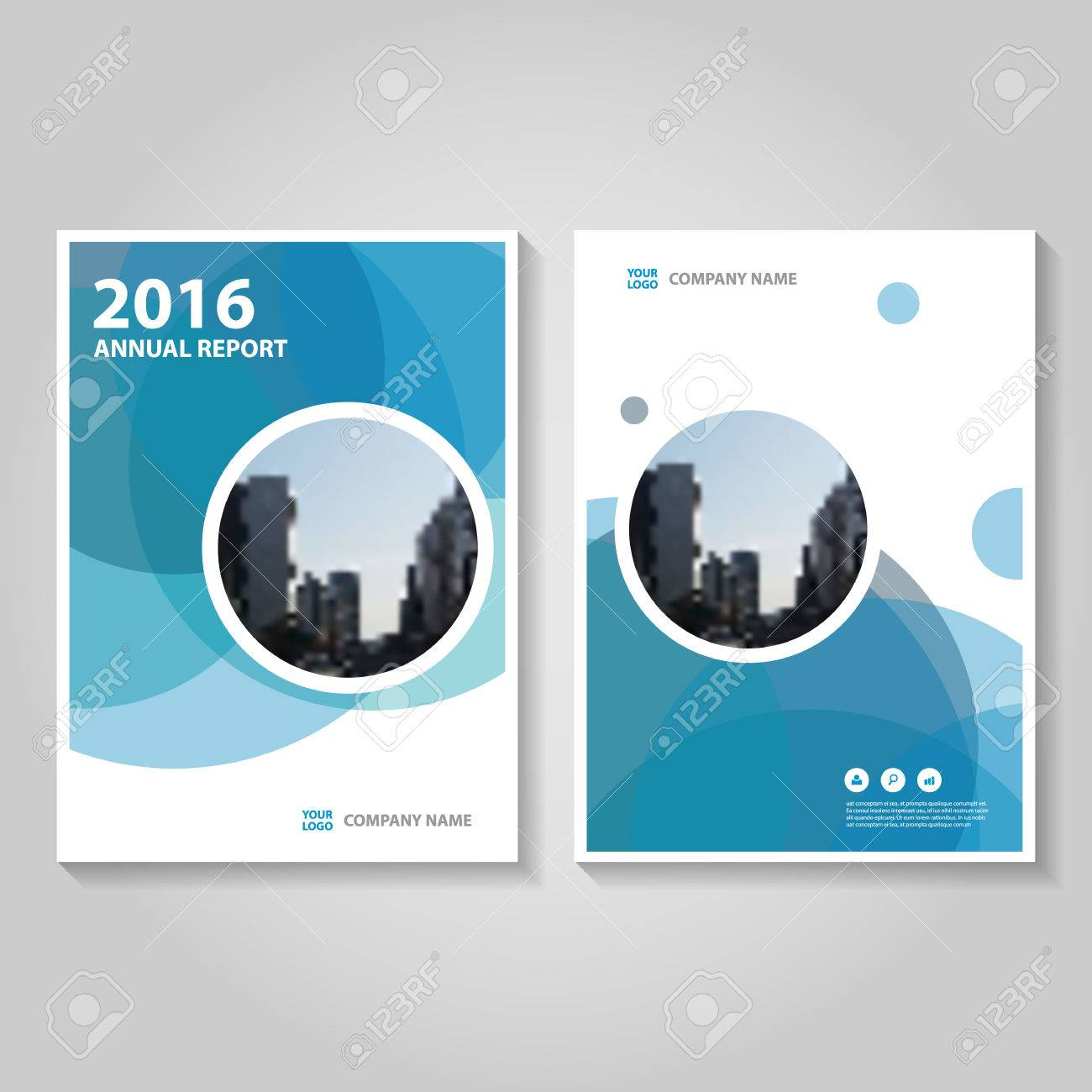 Circle Blue Polygon Annual Report Leaflet Brochure Template Design