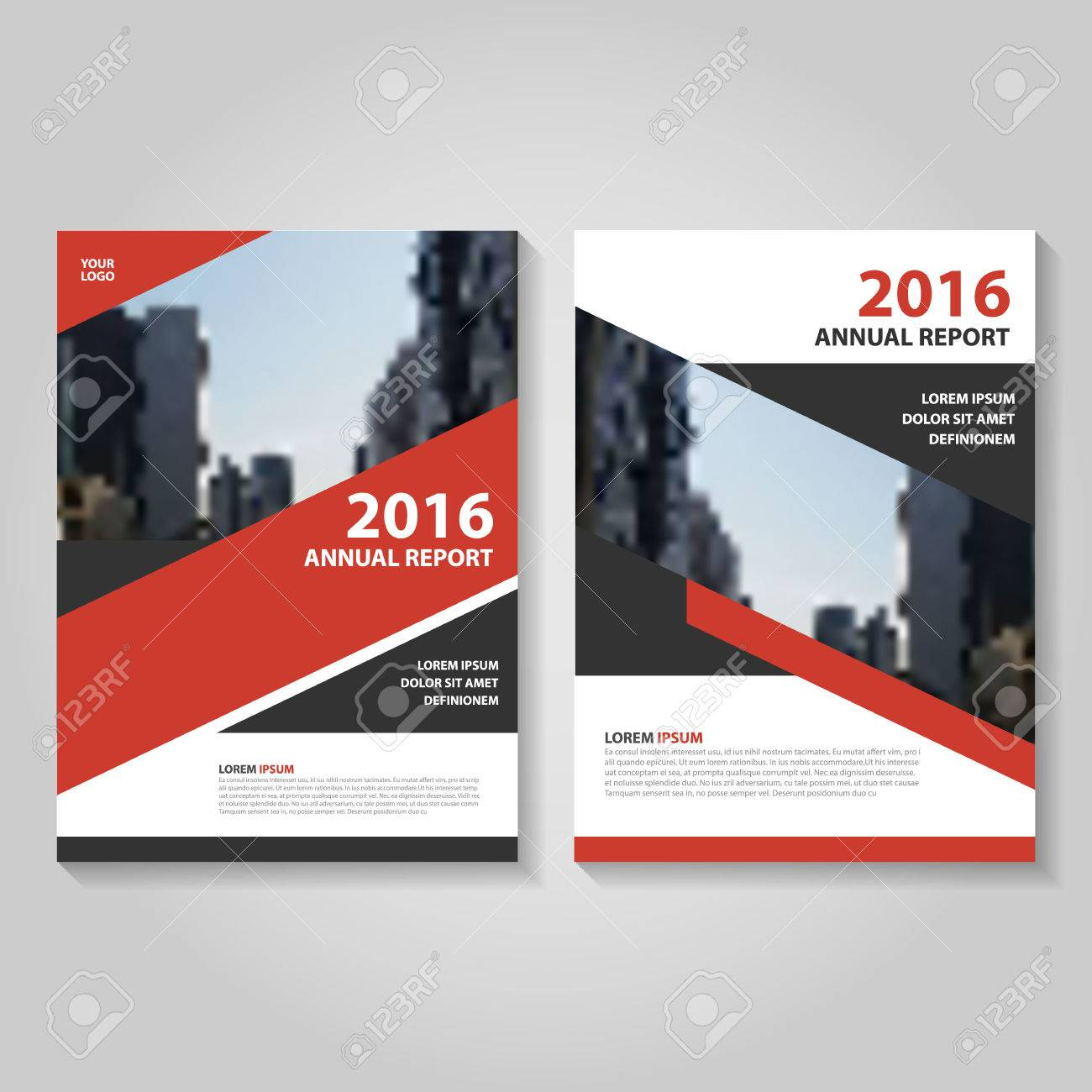 abstract red black annual report leaflet brochure template design