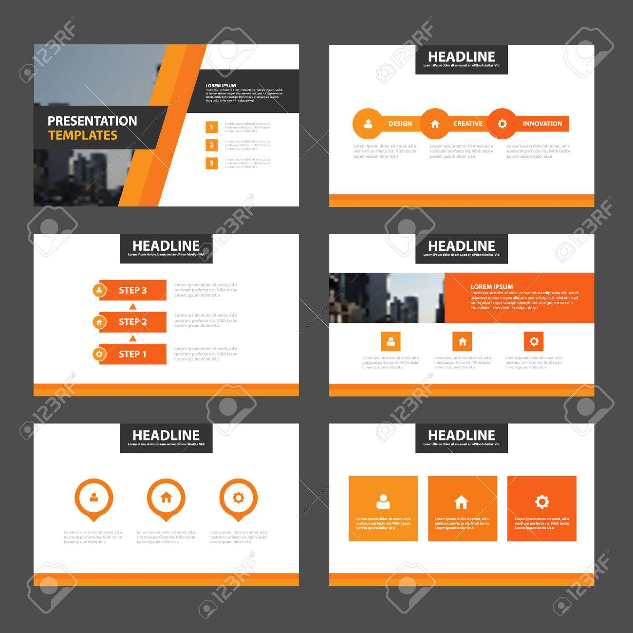 orange presentation templates infographic elements flat design, Powerpoint templates