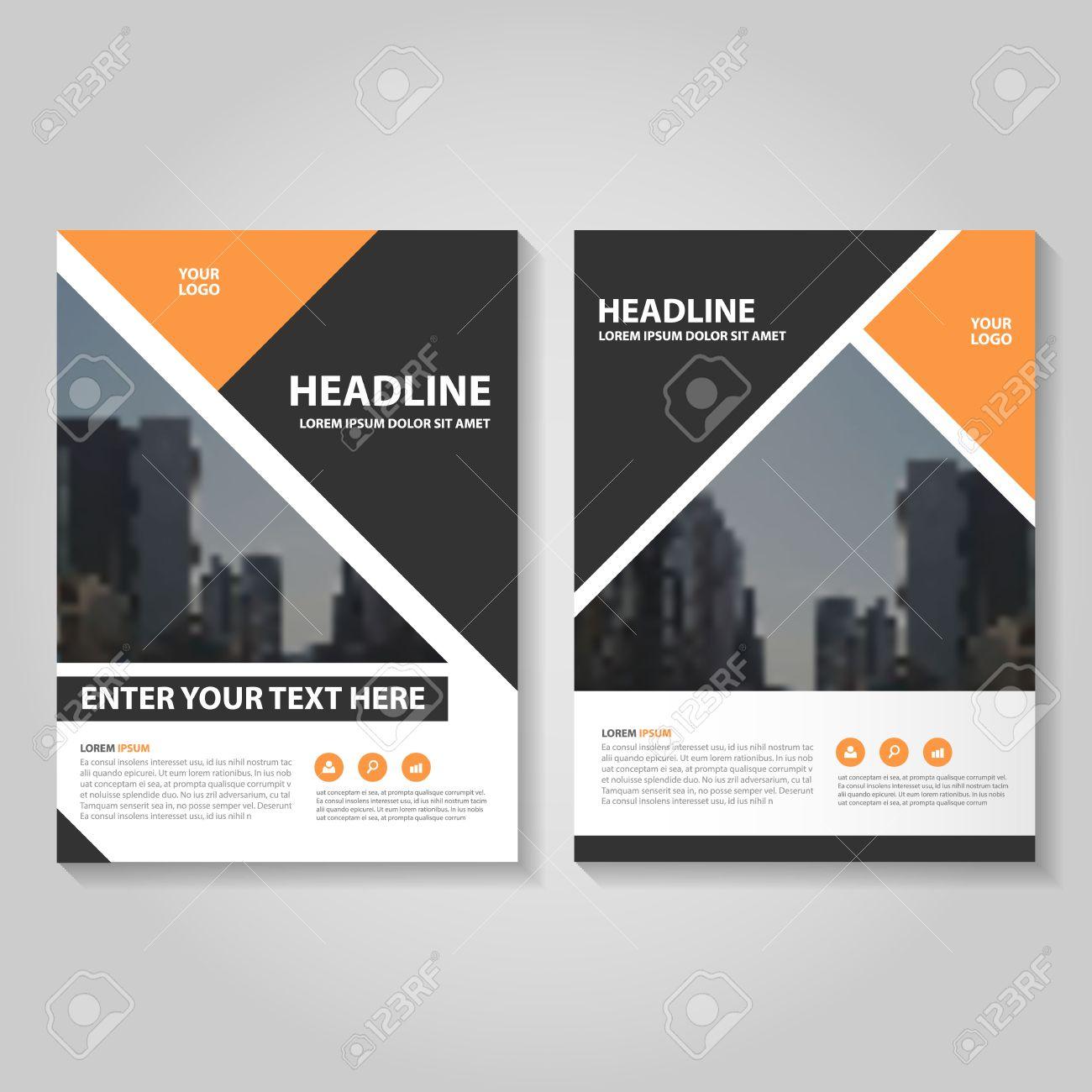 orange black annual report leaflet brochure template design book cover layout design abstract orange
