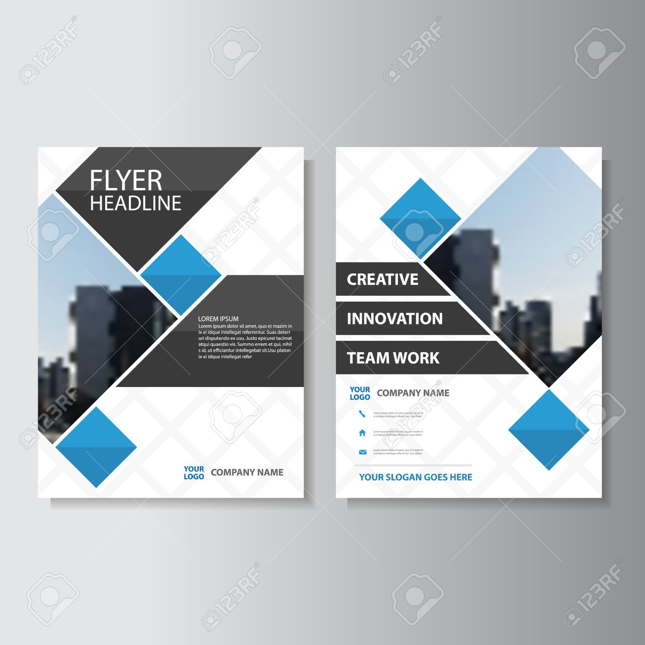 Creative Blue Vector Business Proposal Annual Report Leaflet