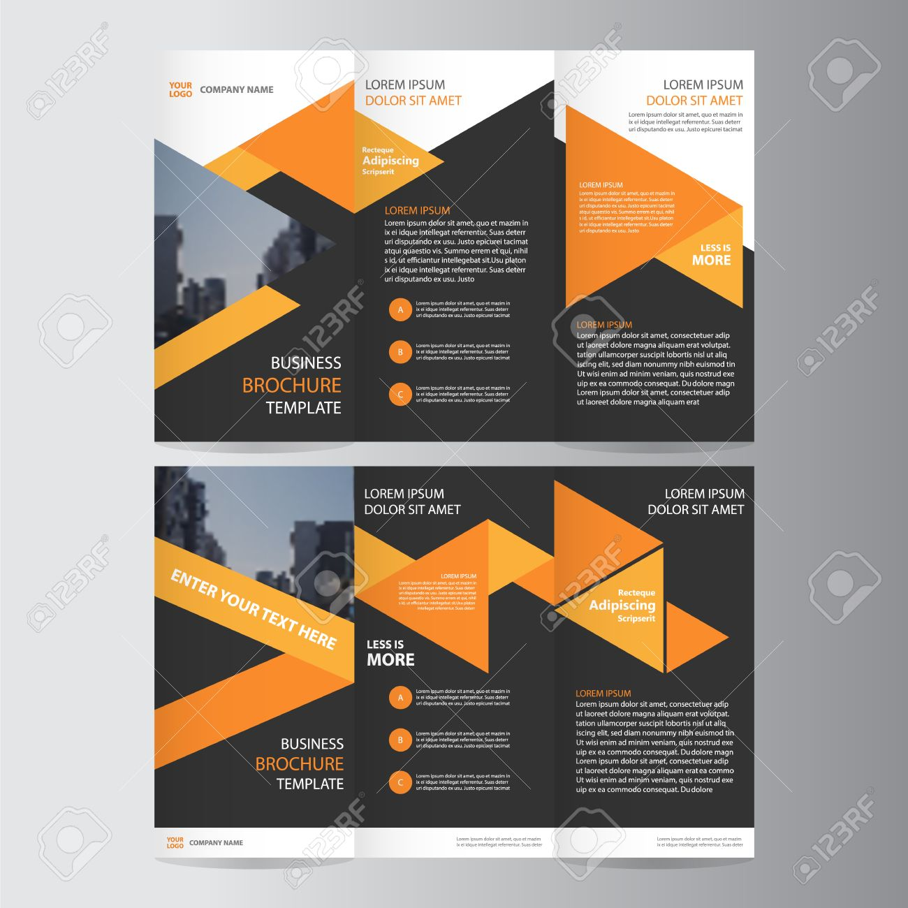 Triangle Orange Black Trifold Annual Report Leaflet Brochure - Brochure flyer templates