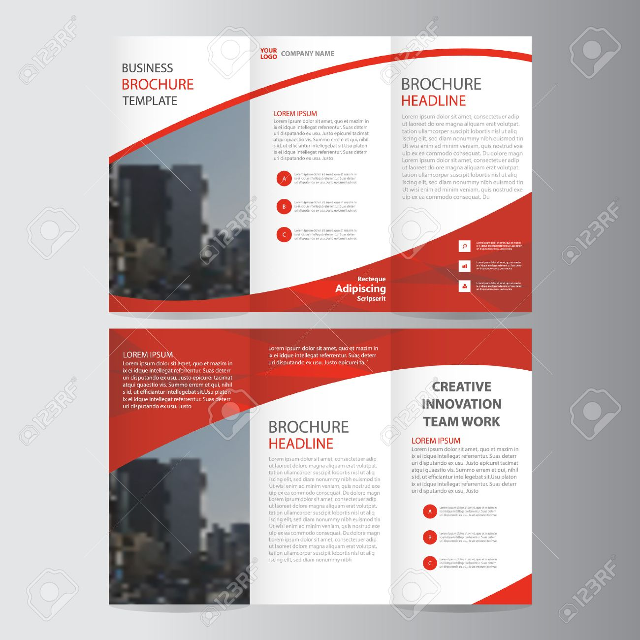 Red elegance business trifold business leaflet brochure flyer red elegance business trifold business leaflet brochure flyer template vector minimal flat design set stock vector wajeb Gallery