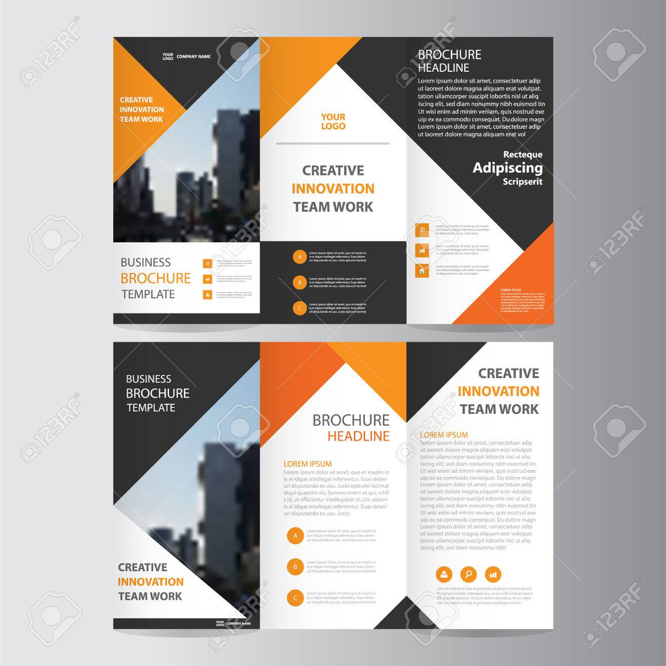 Orange Black Triangle Elegance Business Trifold Business Leaflet - Mini brochure template