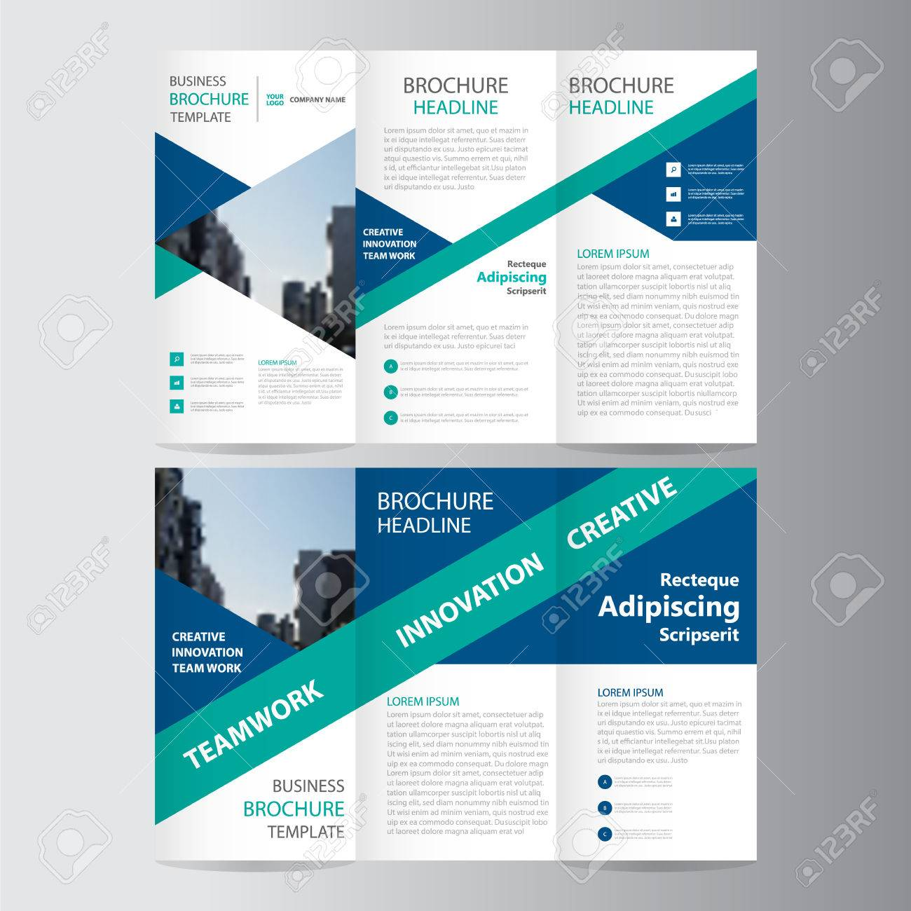 Blue Green Triangle Elegance Business Trifold Business Leaflet ...