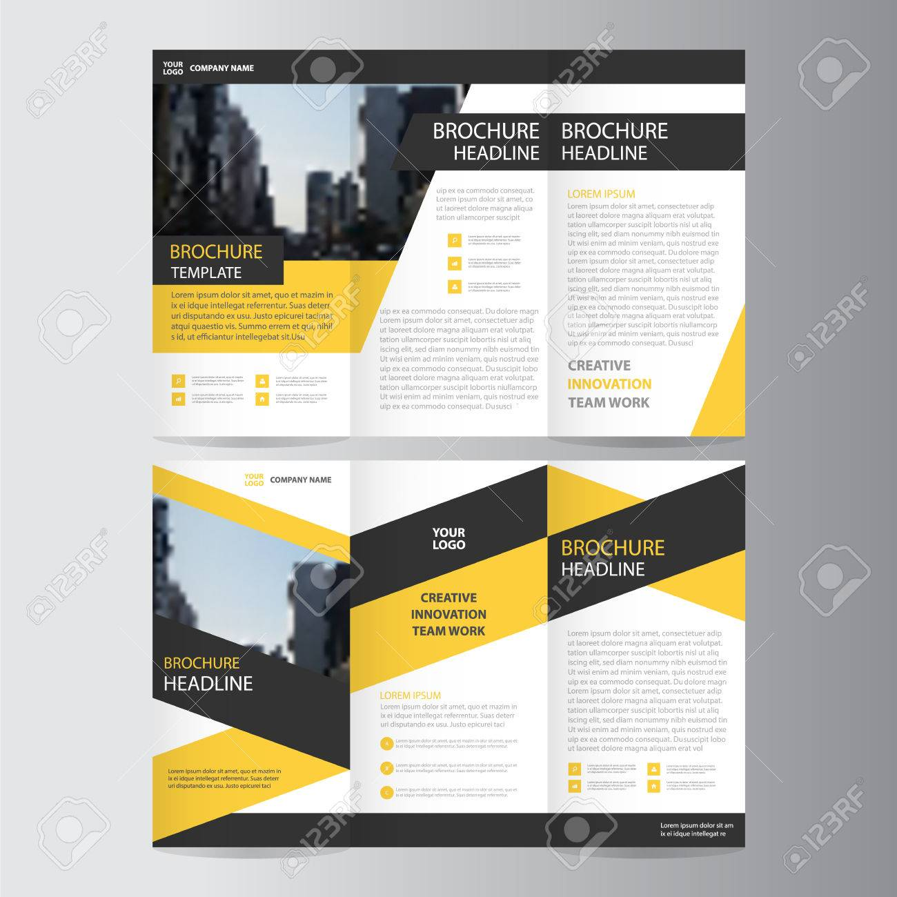 Yellow Black Triangle Elegance Business Trifold Business Leaflet - Mini brochure template