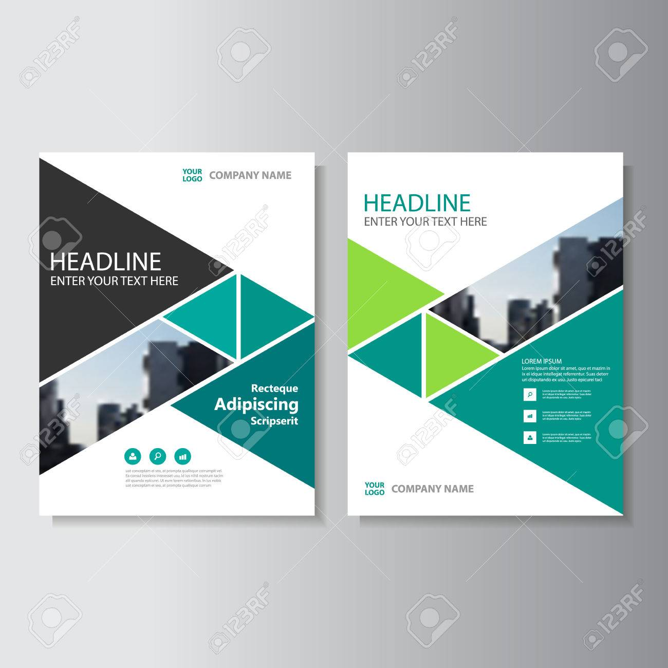 Green Triangle Vector Annual Report Leaflet Brochure Flyer Template ...