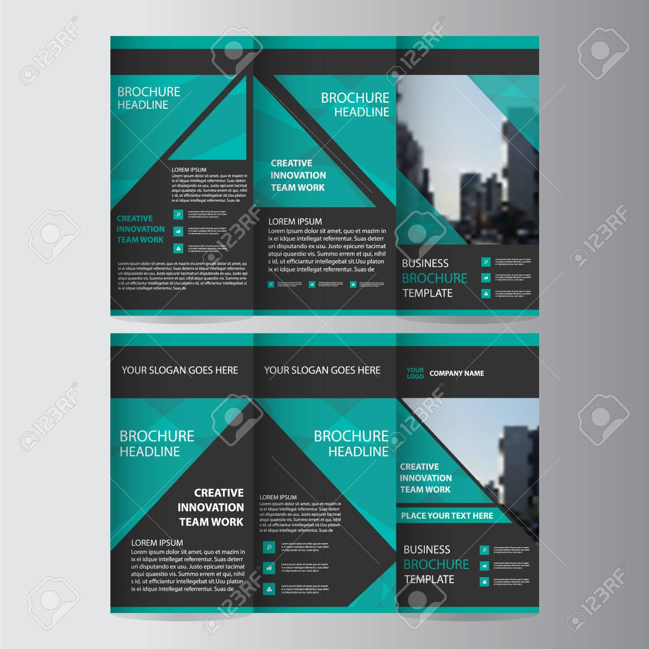 Green black elegance business trifold business leaflet brochure green black elegance business trifold business leaflet brochure template minimal flat design set stock vector friedricerecipe Image collections