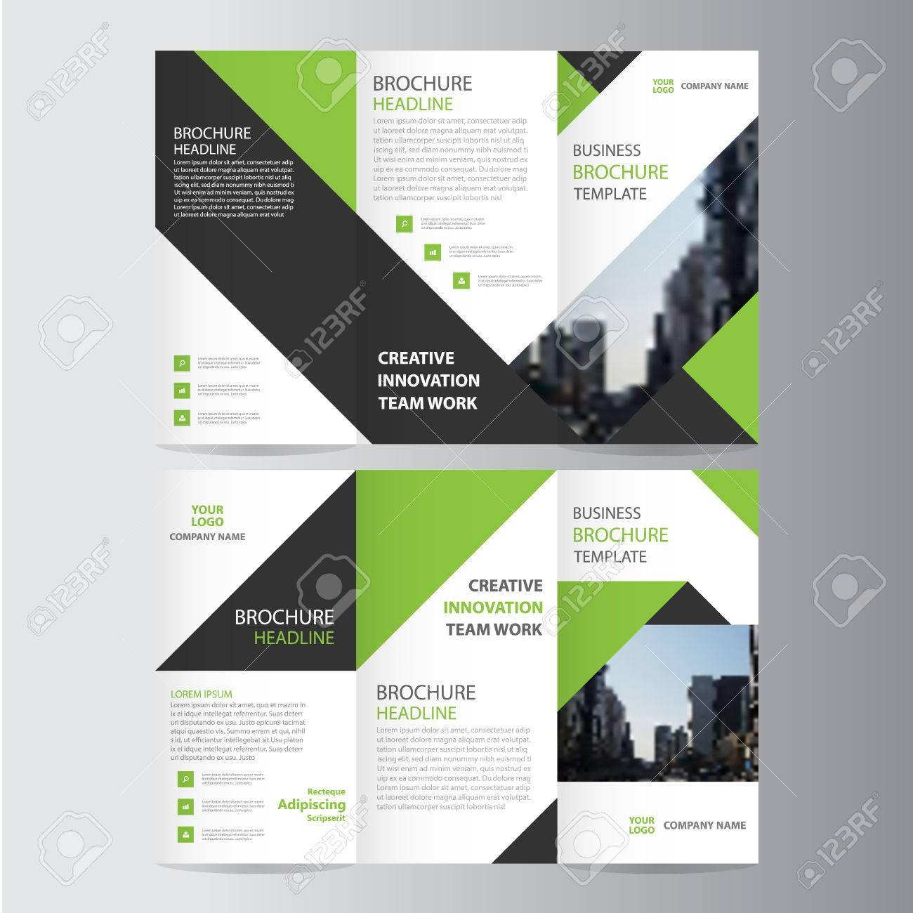 Green black elegance business trifold business Leaflet Brochure template minimal flat design - 56758311