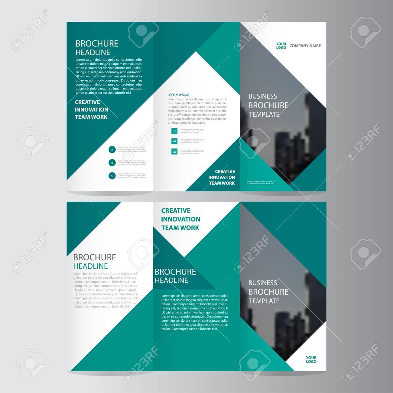 Green elegance business trifold business Leaflet Brochure template minimal flat design set - 56758310