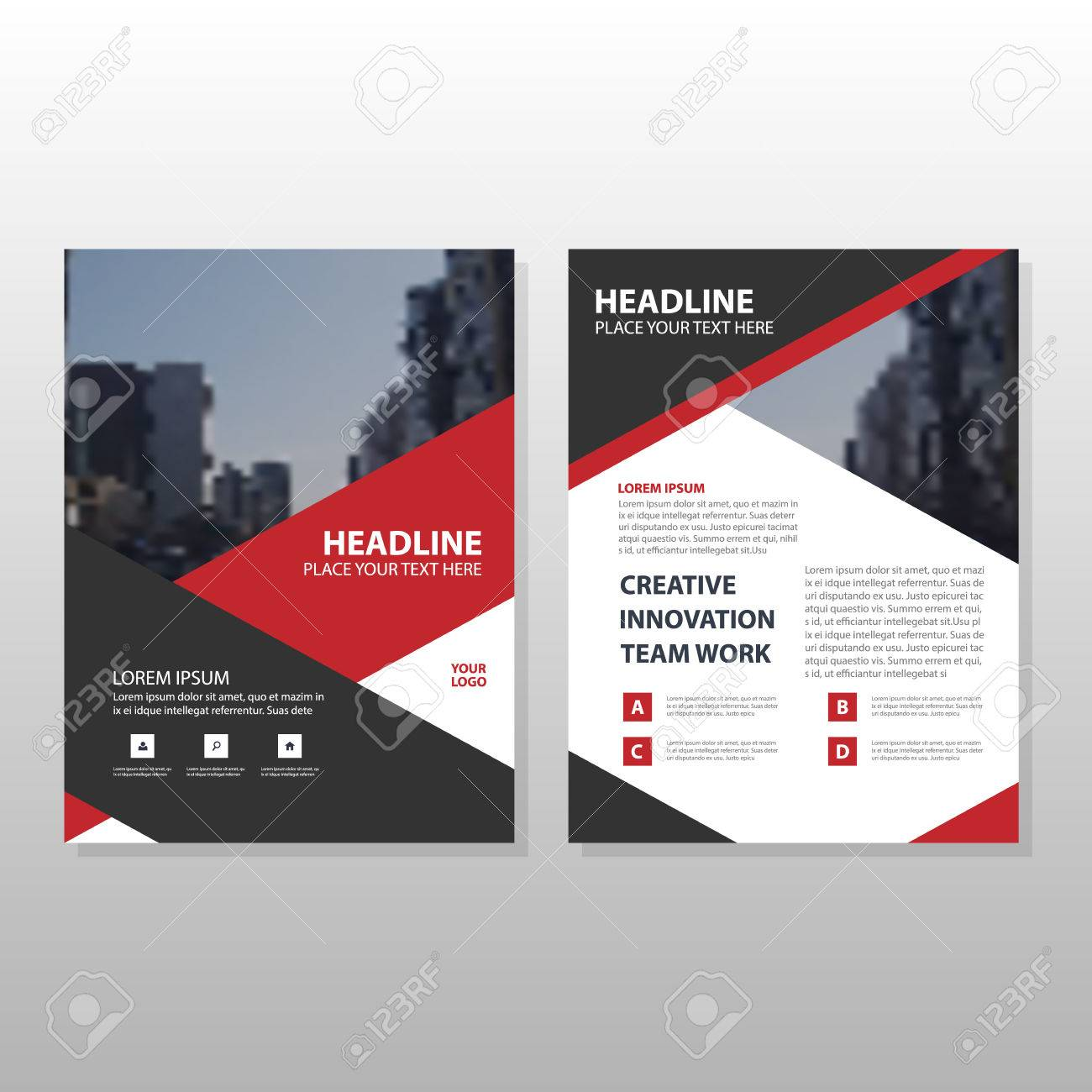Red Black Triangle Leaflet Brochure Flyer Annual Report Template ...