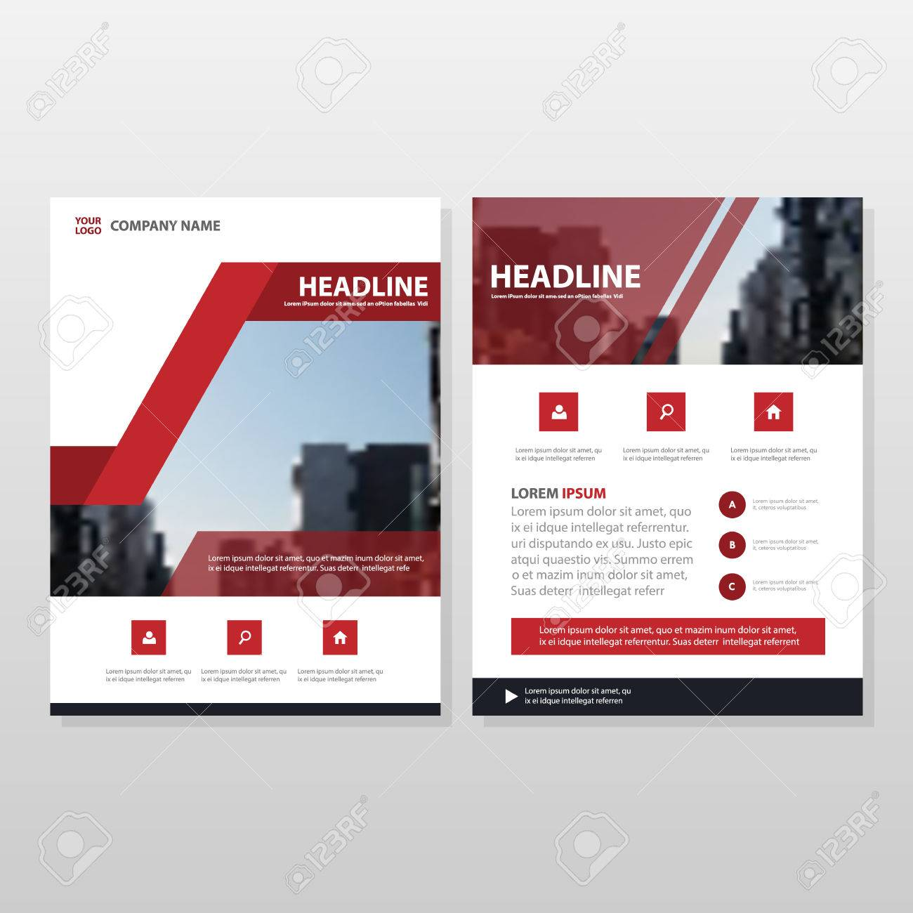 Red Black Vector Brochure Leaflet Flyer Template Design, Book ...