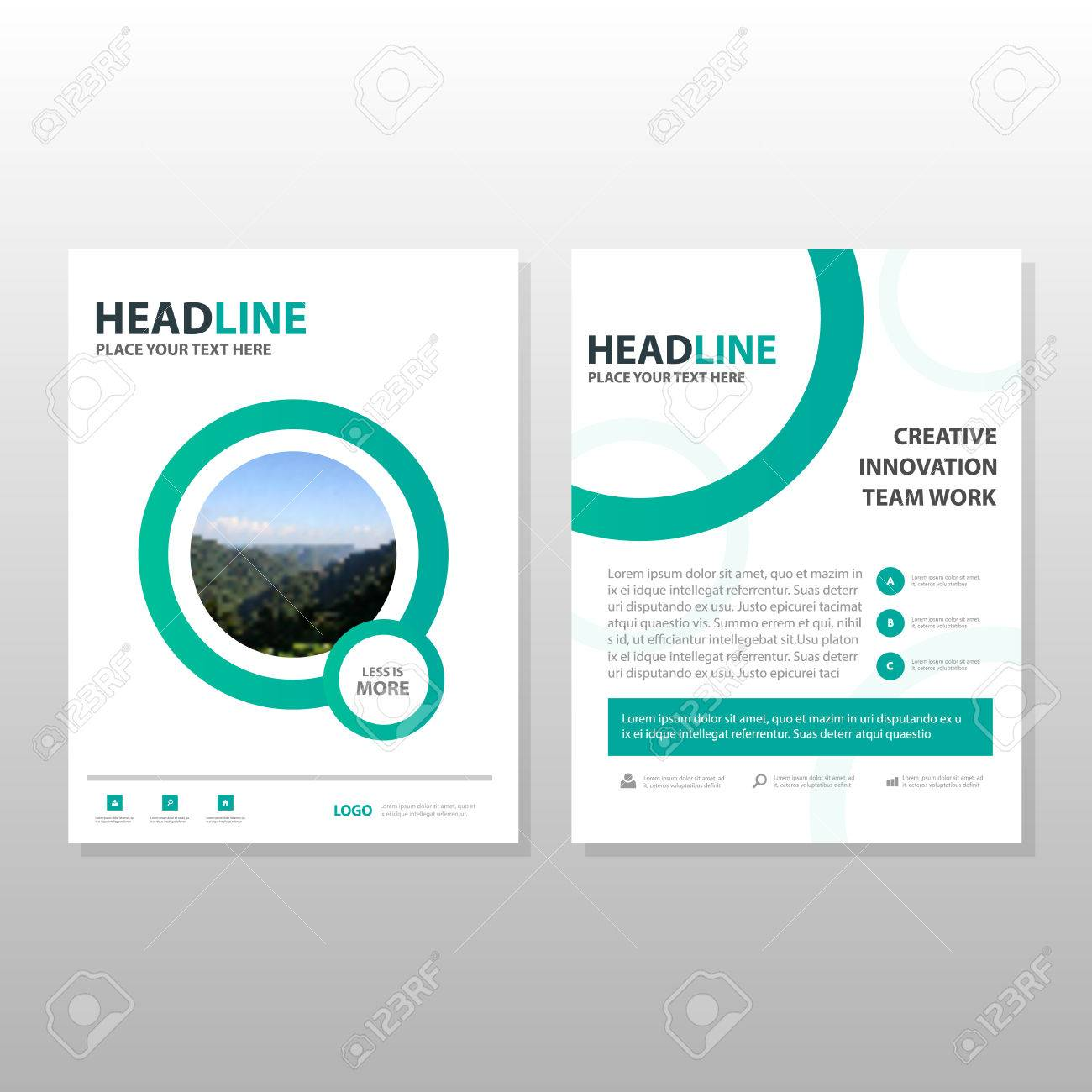 green circle minimal brochure leaflet flyer template design book cover layout design abstract business