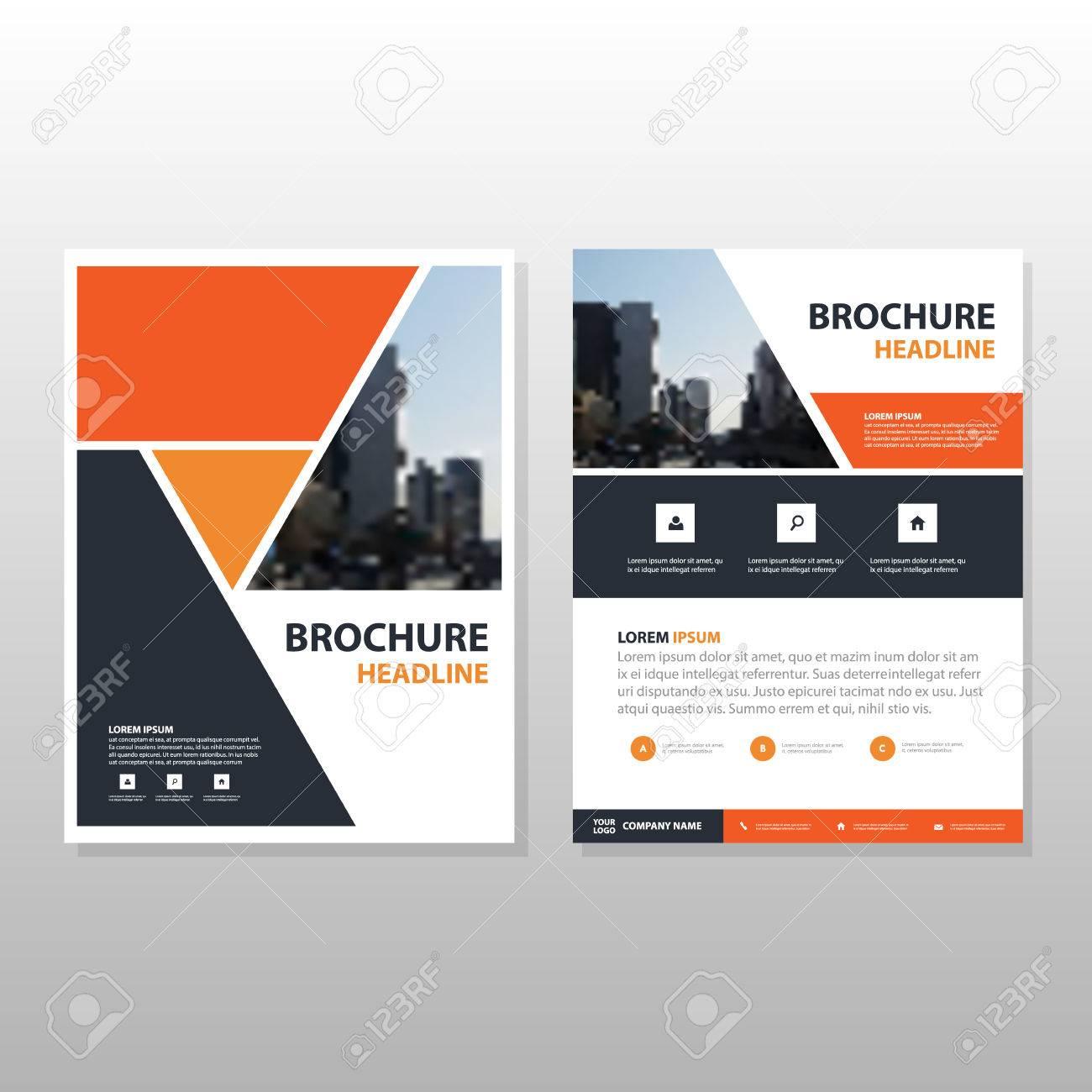 orange black triangle annual report leaflet brochure flyer template