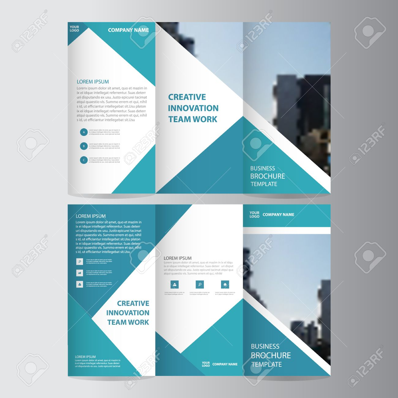 Blue triangle business trifold leaflet brochure flyer report blue triangle business trifold leaflet brochure flyer report template vector minimal flat design set abstract flashek Choice Image