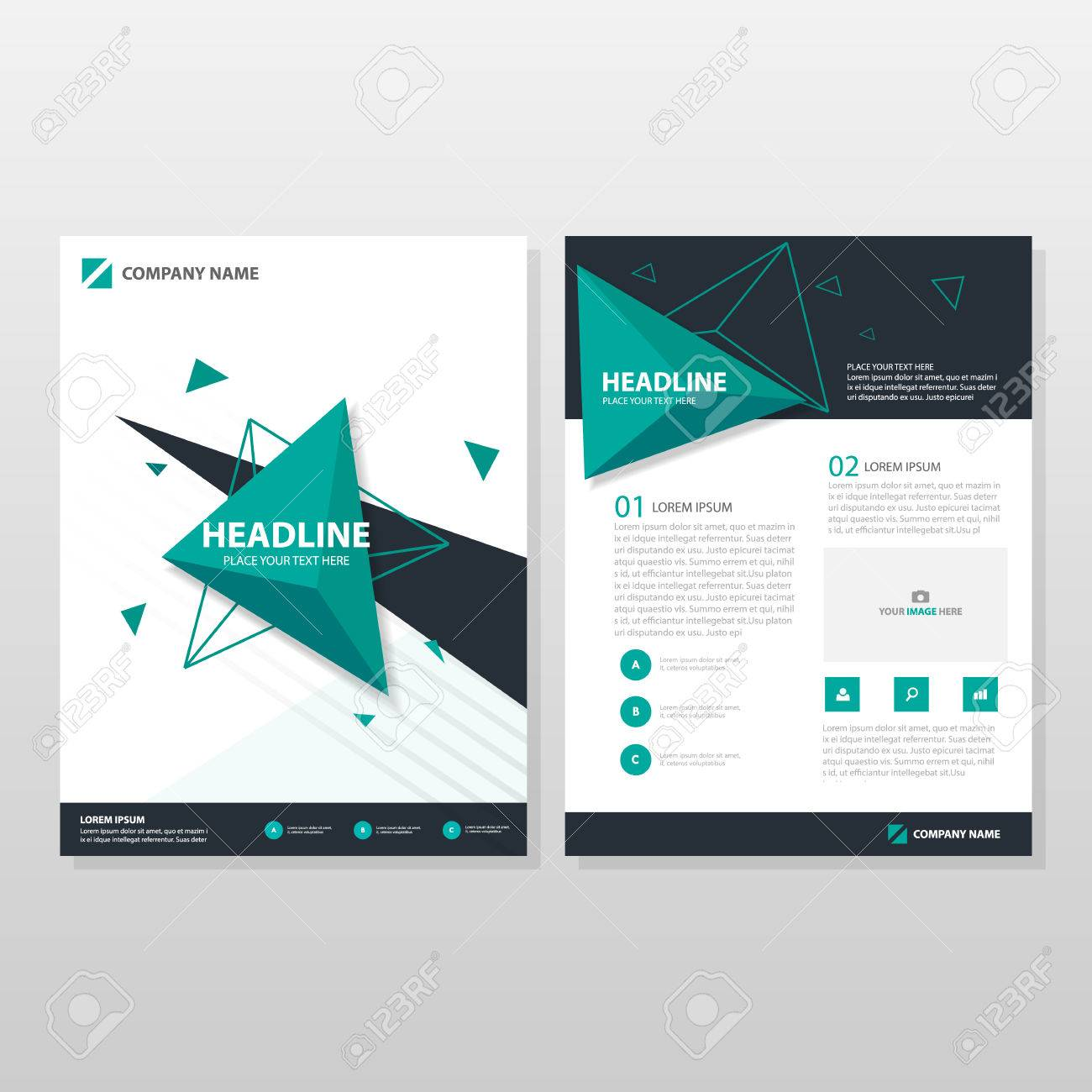 Green triangle Vector annual report Leaflet Brochure Flyer template design, book cover layout design, abstract business presentation template, a4 size design - 58294014