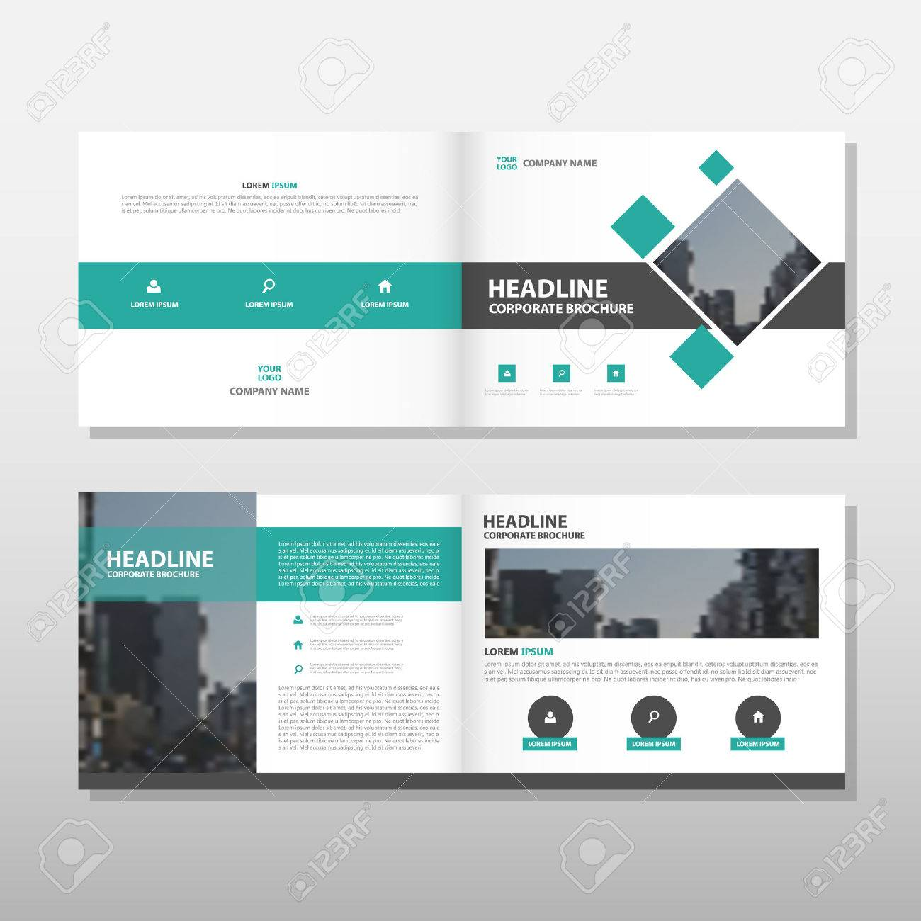 Grüne Vektor-Broschüre Prospekt Flyer Jahresbericht Template-Design ...