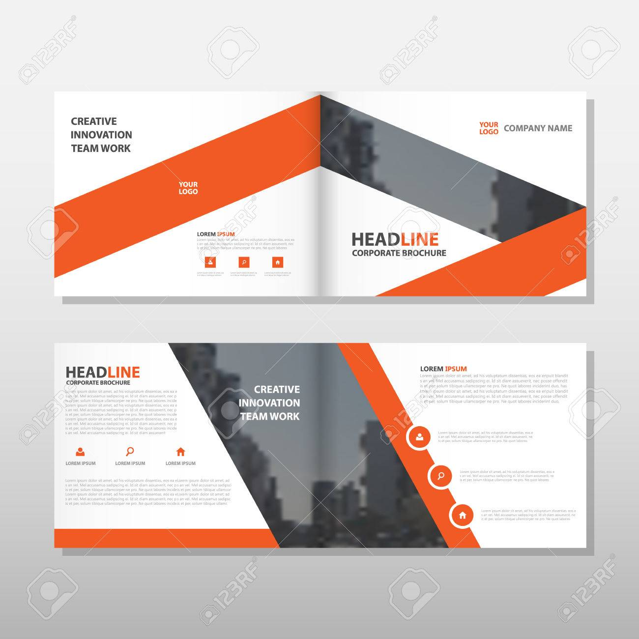 Orange Brochure Leaflet Flyer Annual Report Template Design