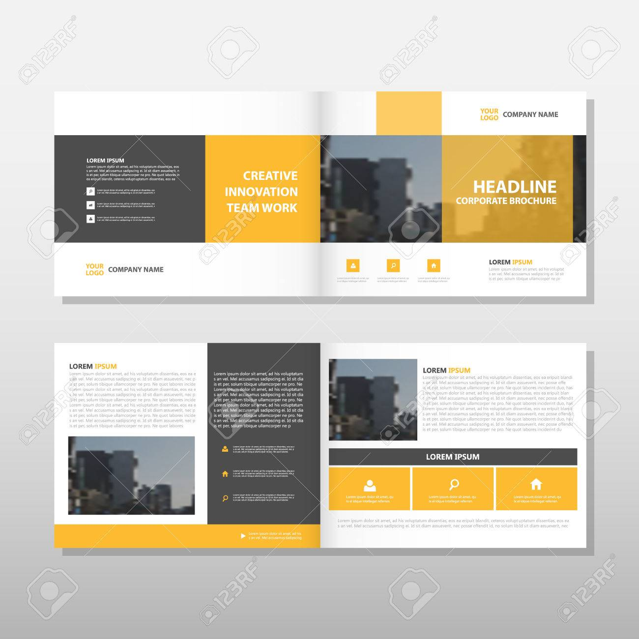 Yellow Brochure Leaflet Flyer Annual Report Template Design