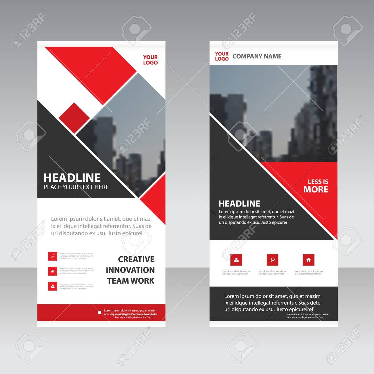 red square business roll up banner flat design template abstract
