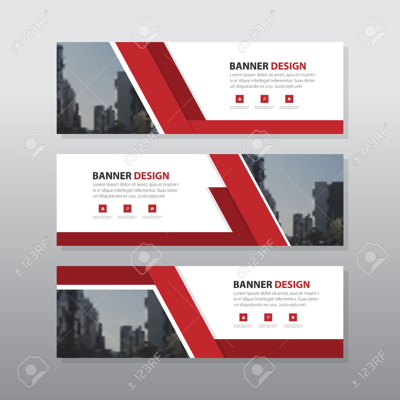 Red abstract corporate business banner template, horizontal advertising business banner layout template flat design set , clean geometric abstract cover header background template for website design, - 59129581