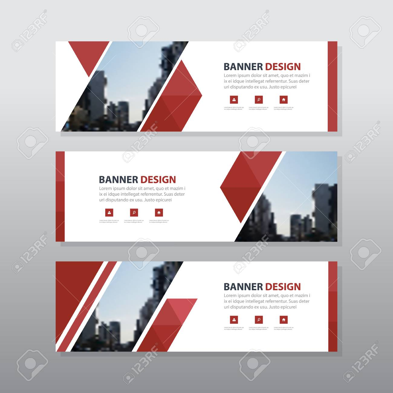 red triangle abstract corporate business banner template horizontal