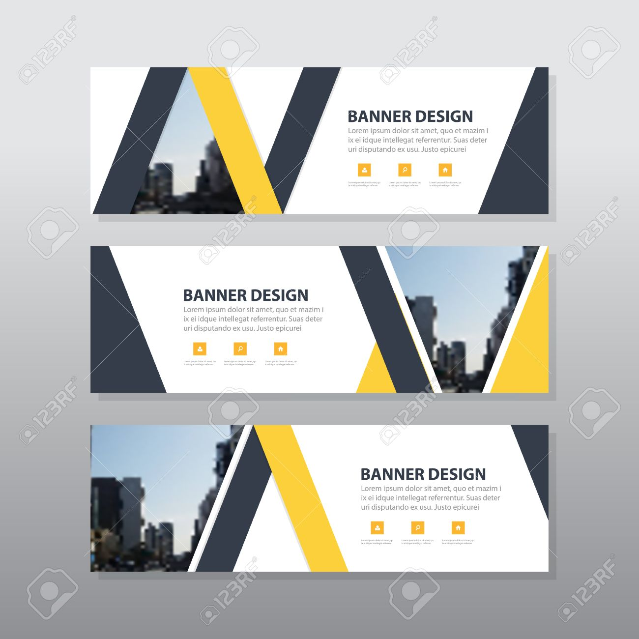 Yellow black triangle abstract corporate business banner template vector yellow black triangle abstract corporate business banner template horizontal advertising business banner layout template flat design set clean maxwellsz