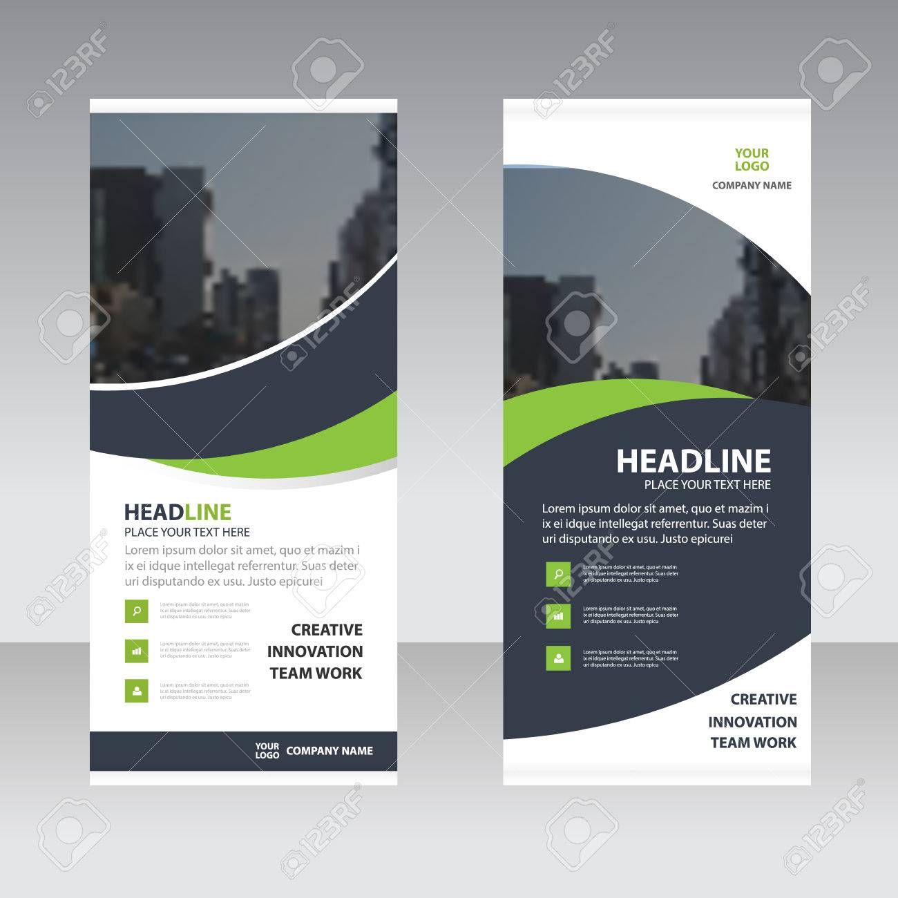 Green black curve astract triangle Business Roll Up Banner flat design template ,Abstract Geometric banner template Vector illustration set, abstract presentation template - 59118367