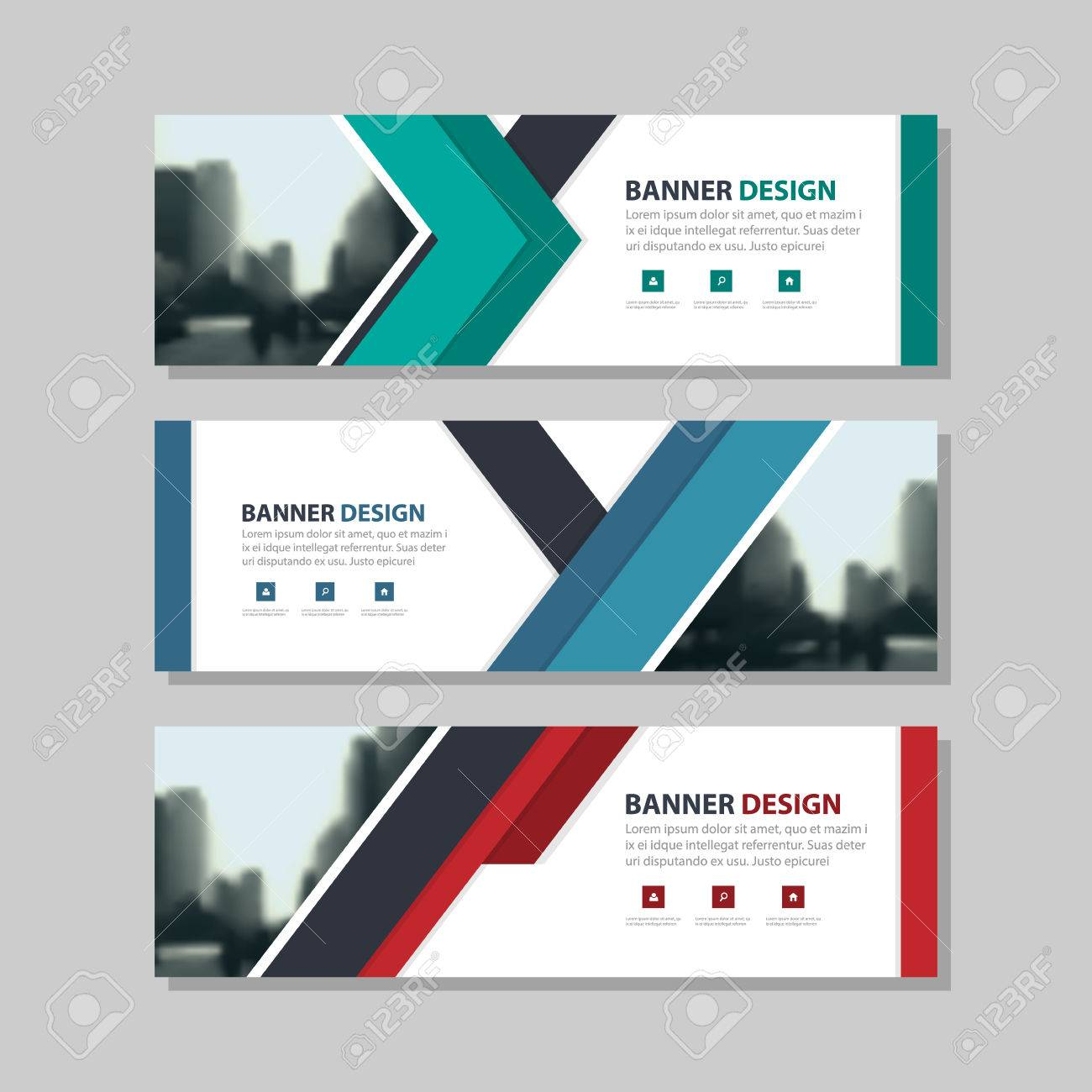 Blue Green Red Triangle Abstract Corporate Business Banner Template