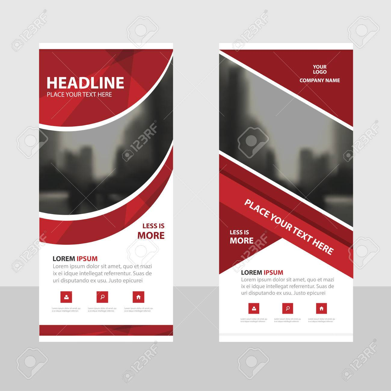 red curve business roll up banner flat design template abstract
