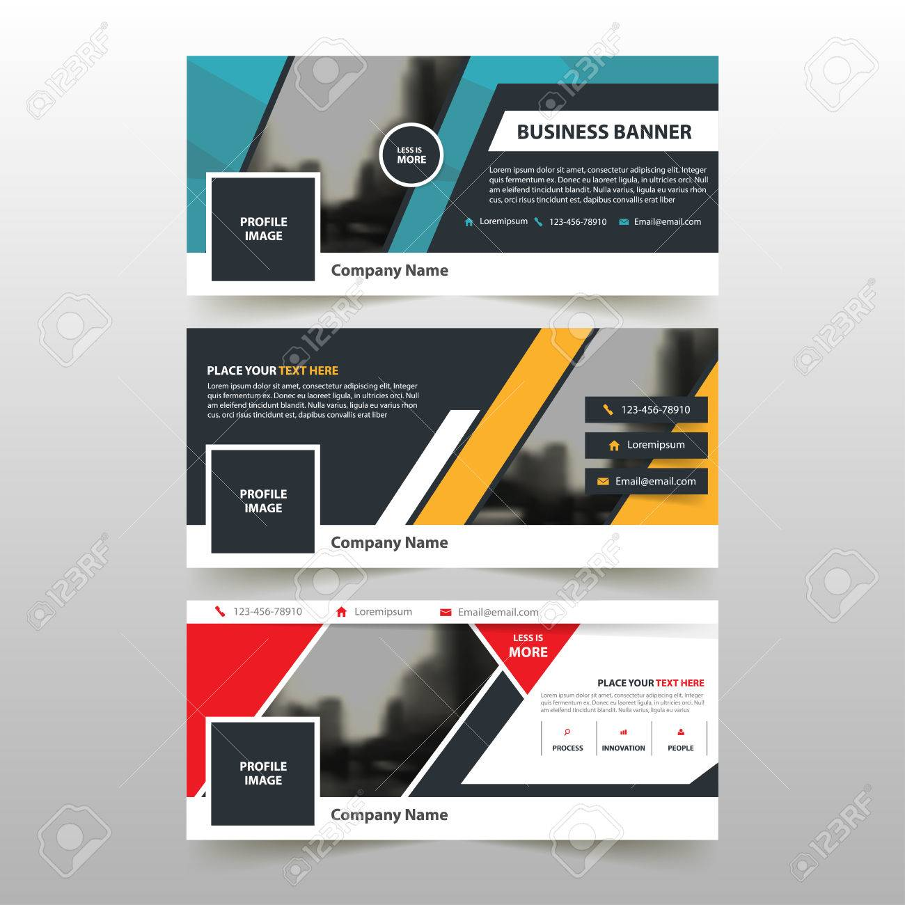 Red blue yellow corporate business banner template, horizontal advertising business banner layout template flat design set , clean abstract cover header background for website design - 60204286