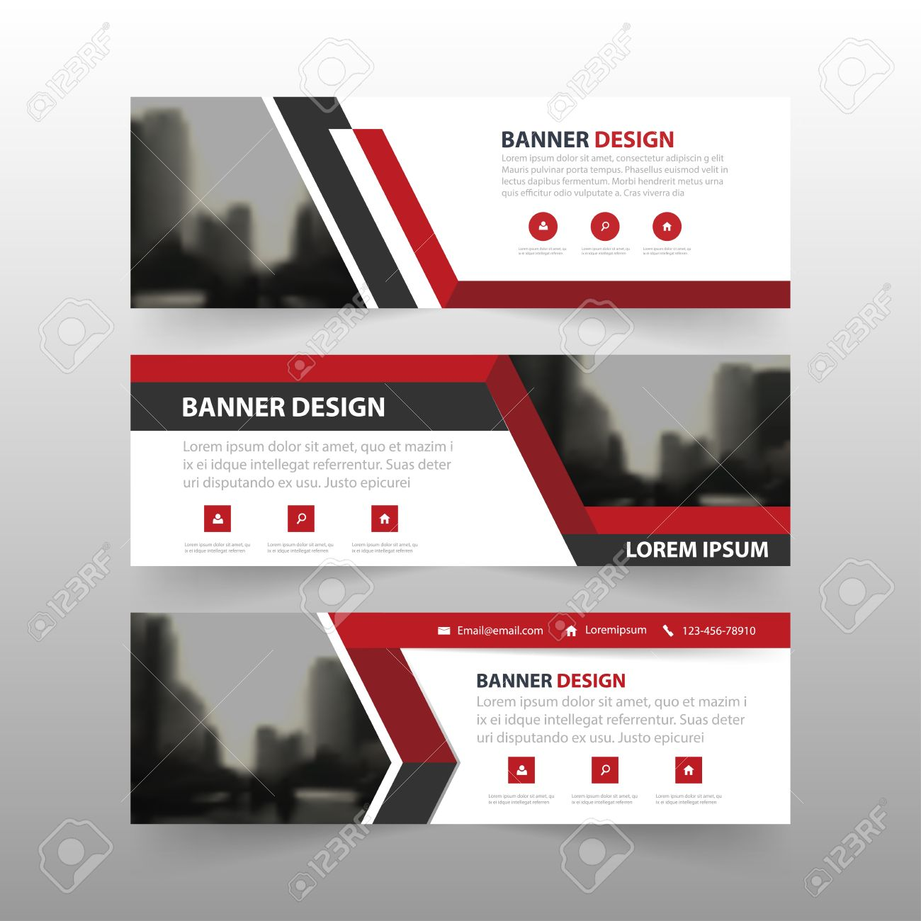 Red black triangle corporate business banner template, horizontal advertising business banner layout template flat design set , clean abstract cover header background for website design - 60204587