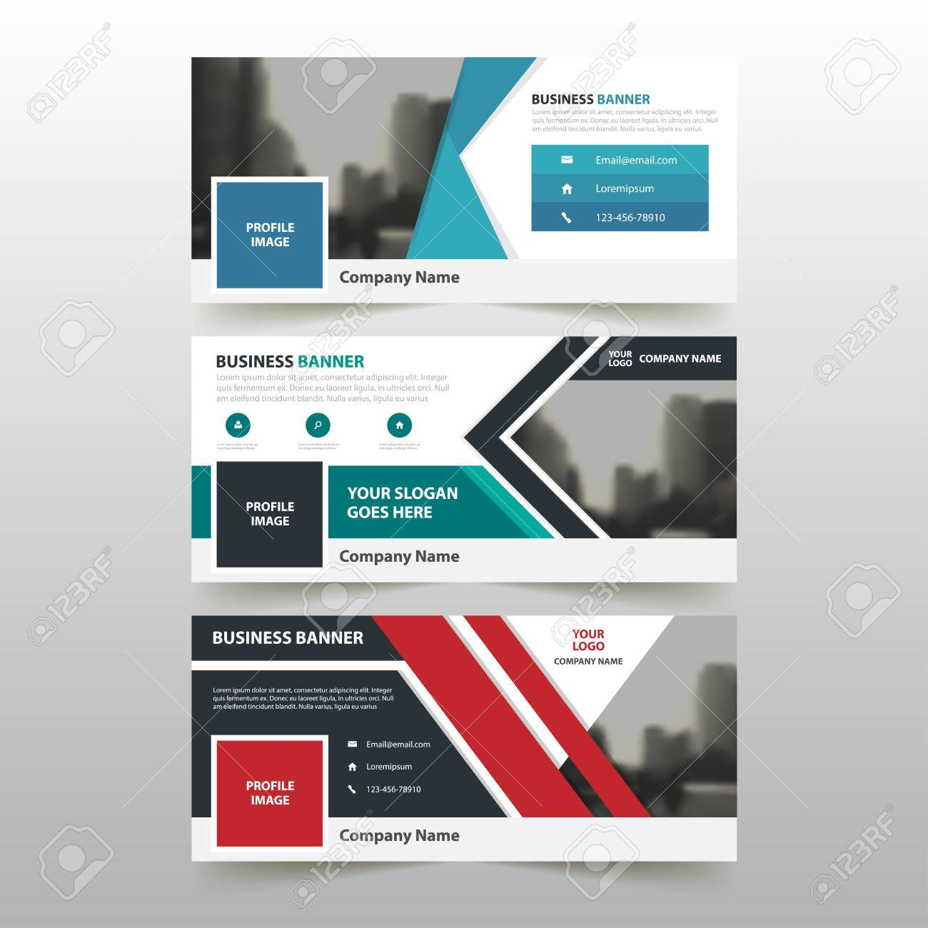 Blue Green Red Corporate Business Banner Template, Horizontal ...