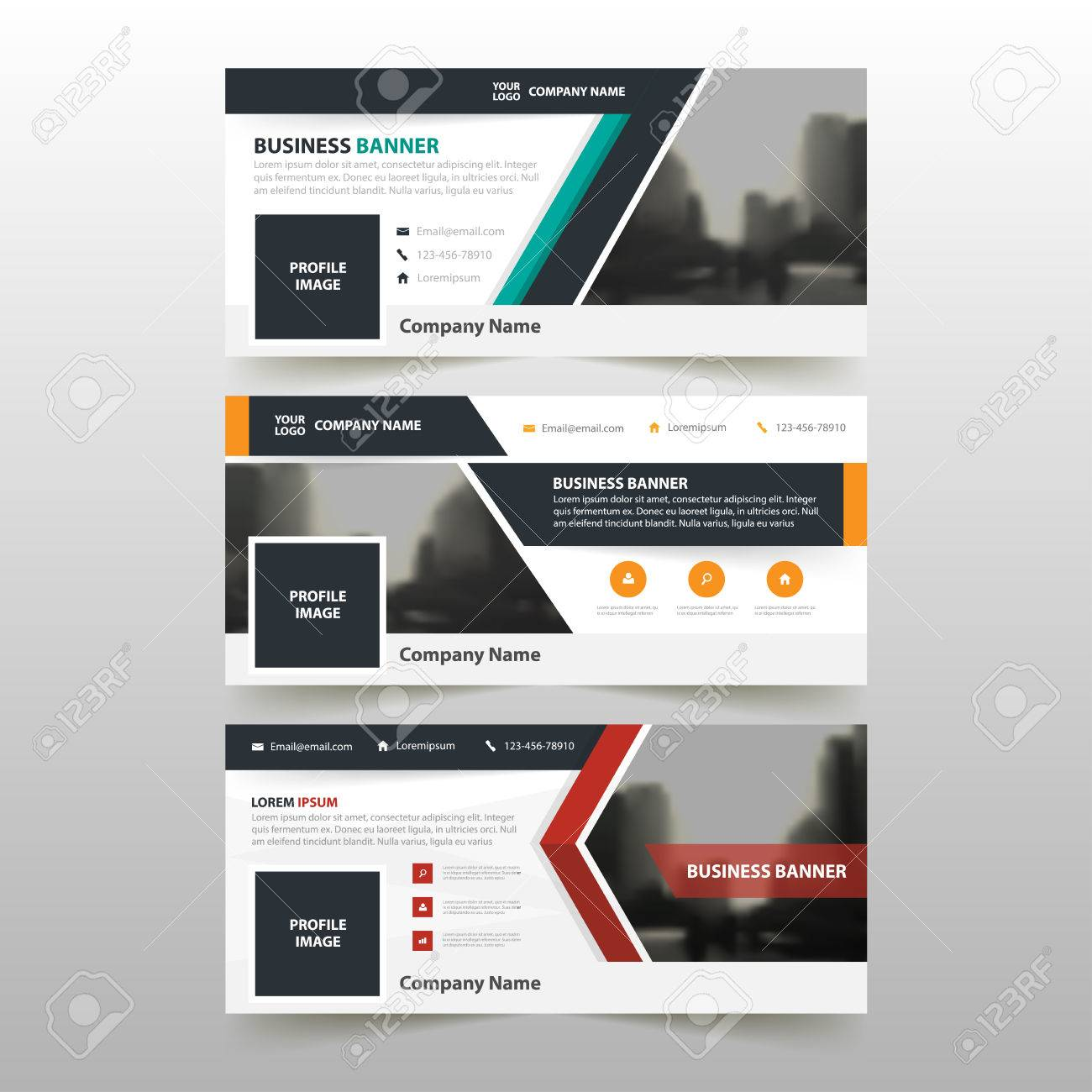 Orange Green Red Corporate Business Banner Template, Horizontal ...