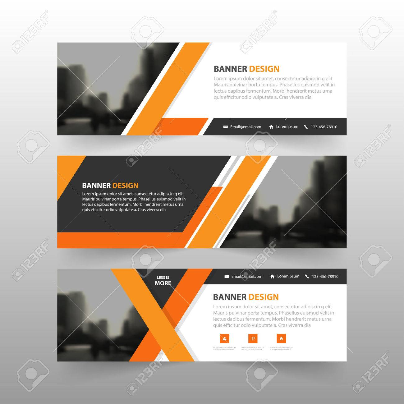 Orange Abstract Corporate Business Banner Template, Horizontal ...