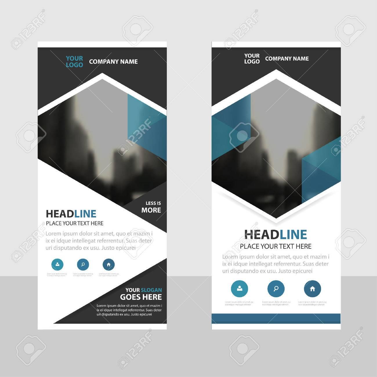 Blue Hexagon Business Roll Up Banner Flat Design Template Abstract