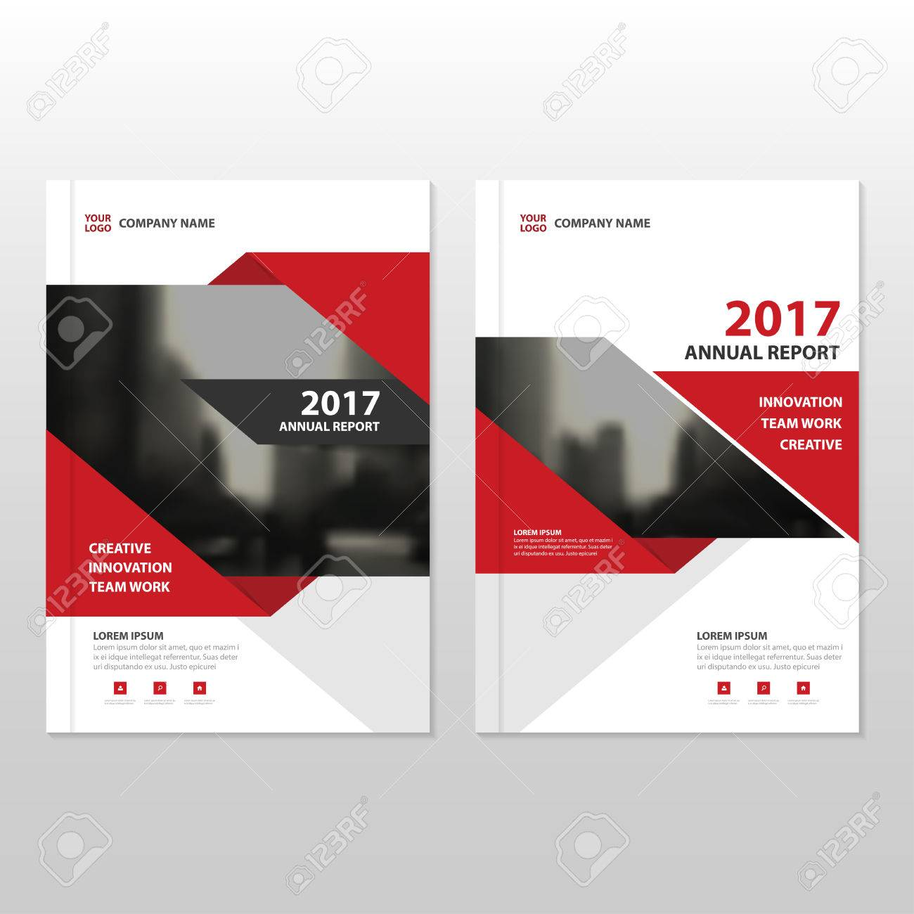 Red Vector Annual Report Leaflet Brochure Flyer Template Design ...