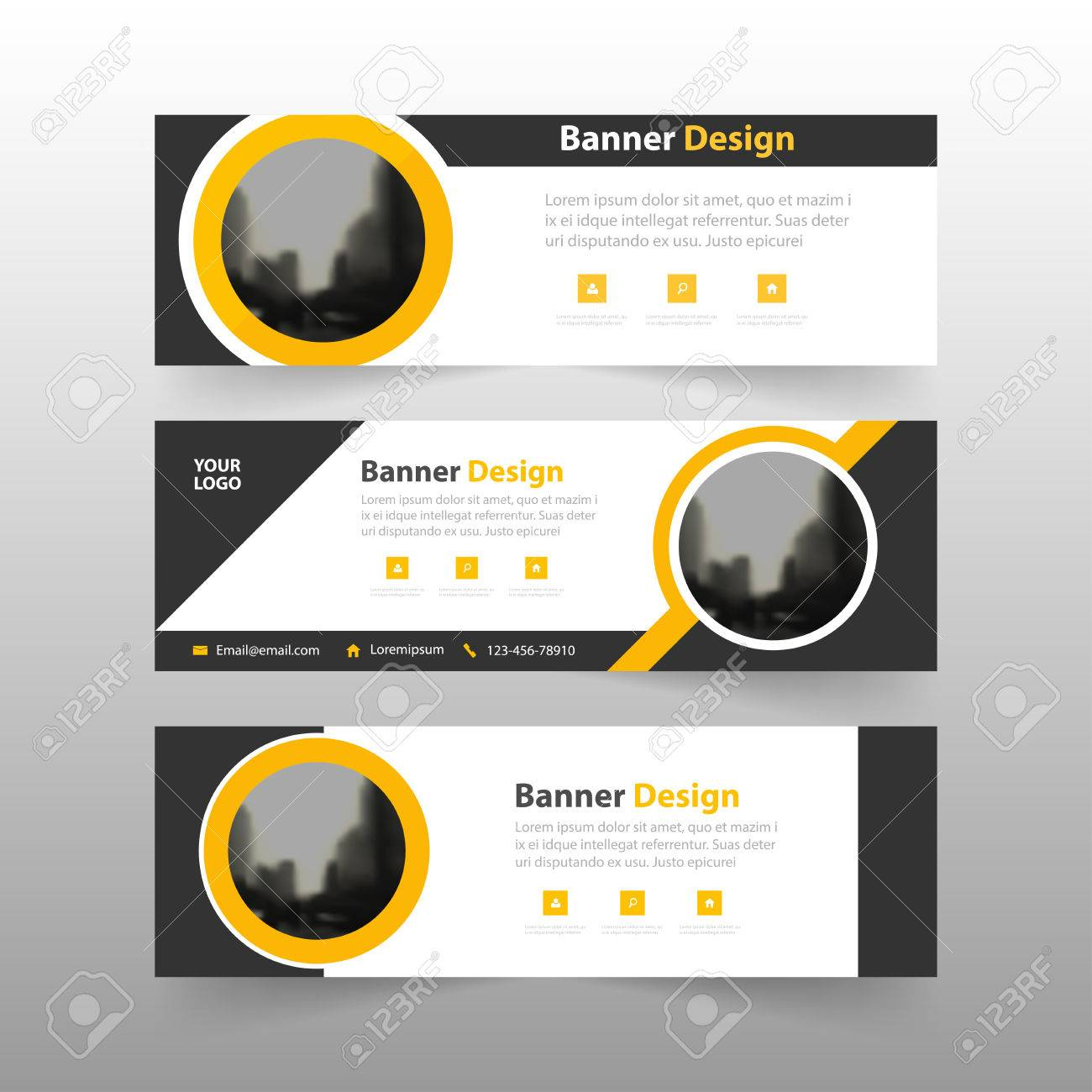 vector yellow black abstract triangle corporate business banner template horizontal advertising business banner layout template flat design set clean