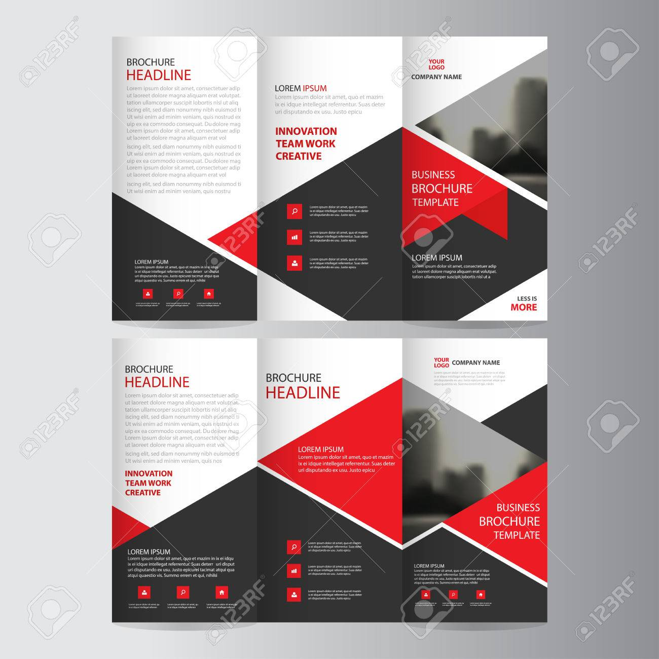 Red triangle business trifold leaflet brochure flyer report template red triangle business trifold leaflet brochure flyer report template vector minimal flat design set abstract wajeb
