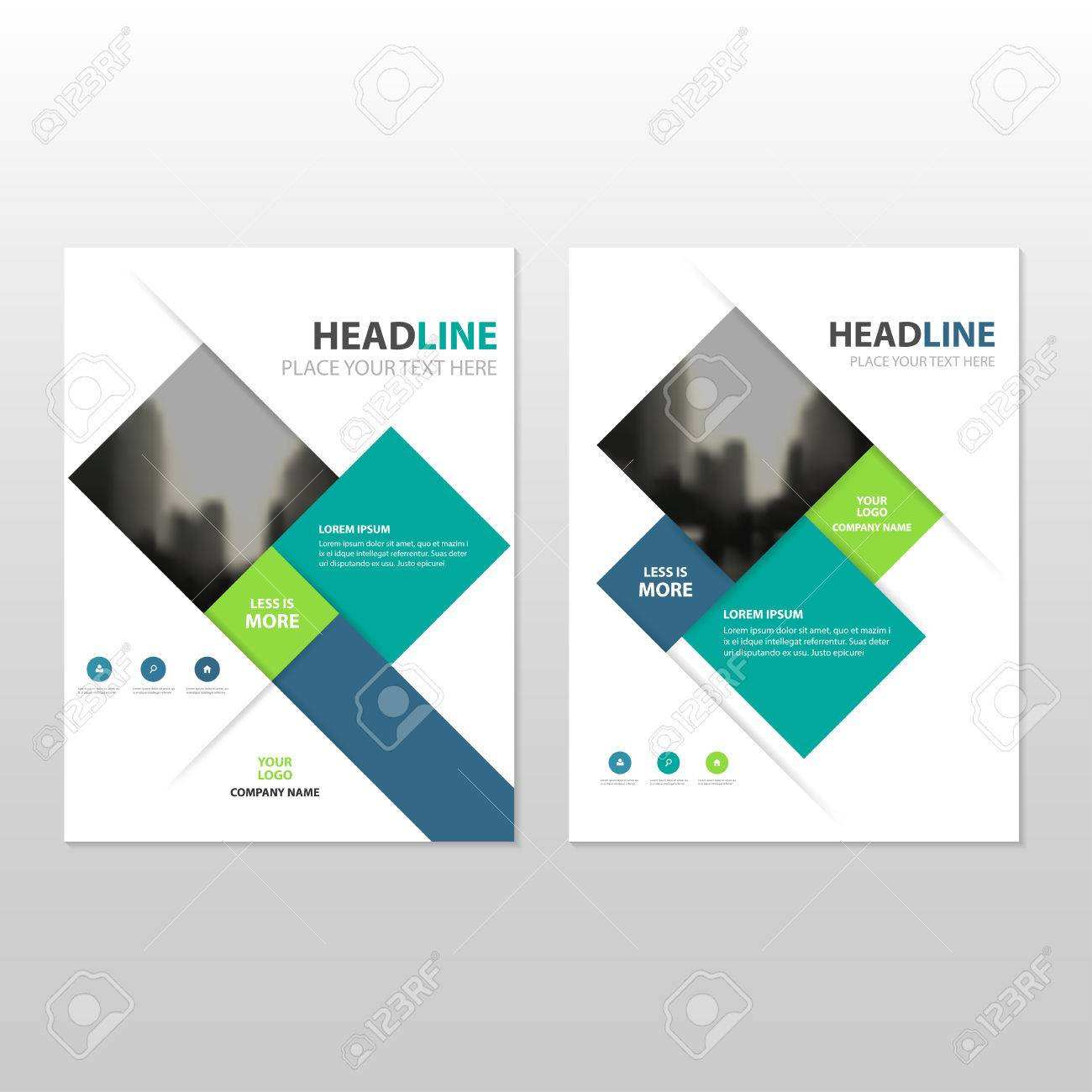 Blue Green Square Vector Annual Report Leaflet Brochure Flyer ...