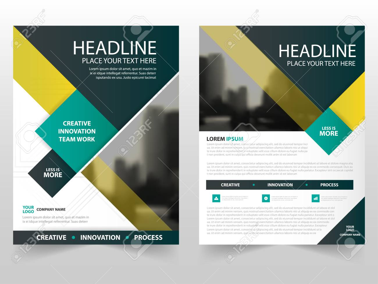 Yellow Green Business Brochure Leaflet Flyer Annual Report Template ...