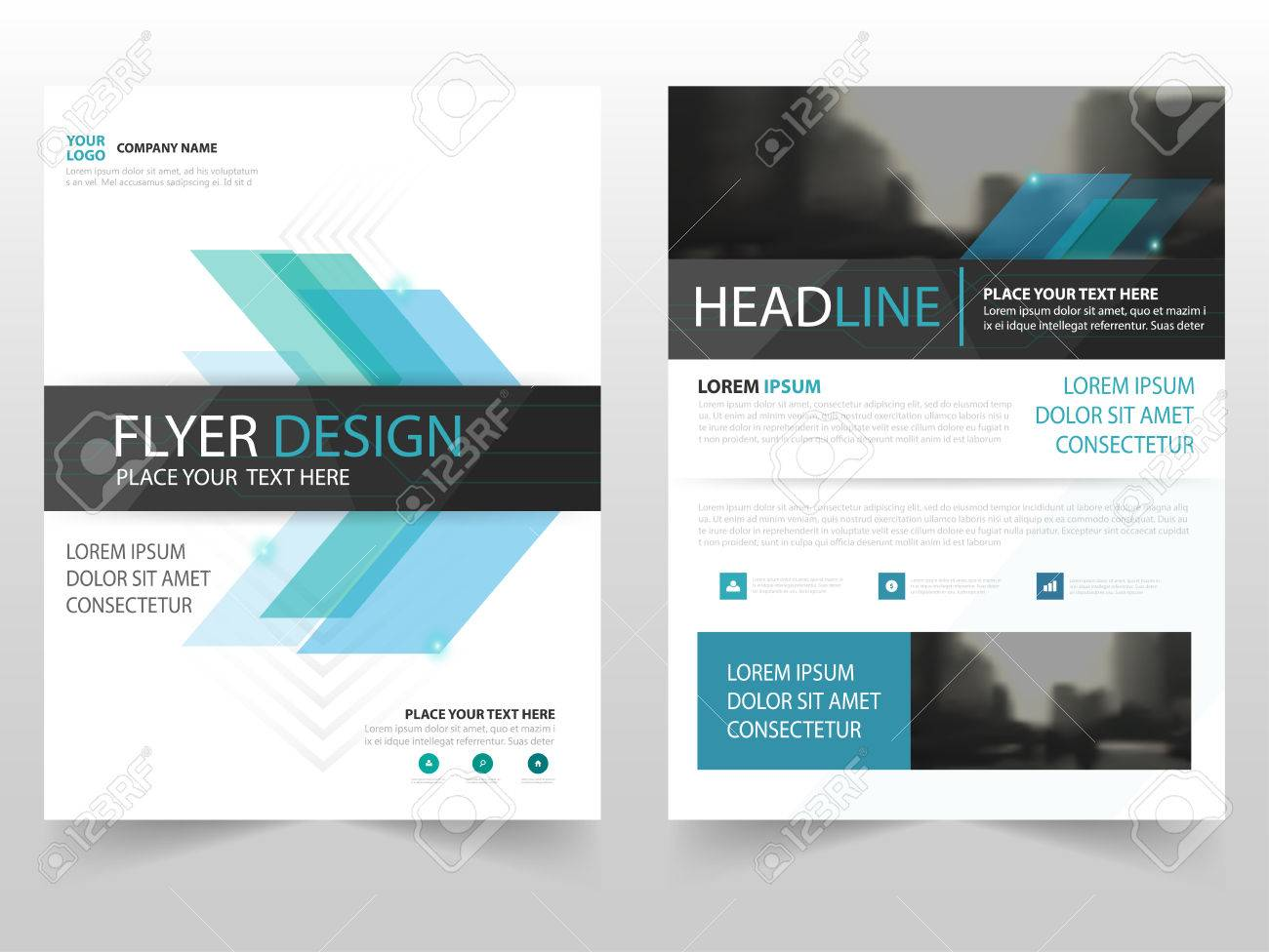 Blue abstract business Brochure Leaflet Flyer annual report template design, book cover layout design, abstract business presentation template, a4 size design - 63938073